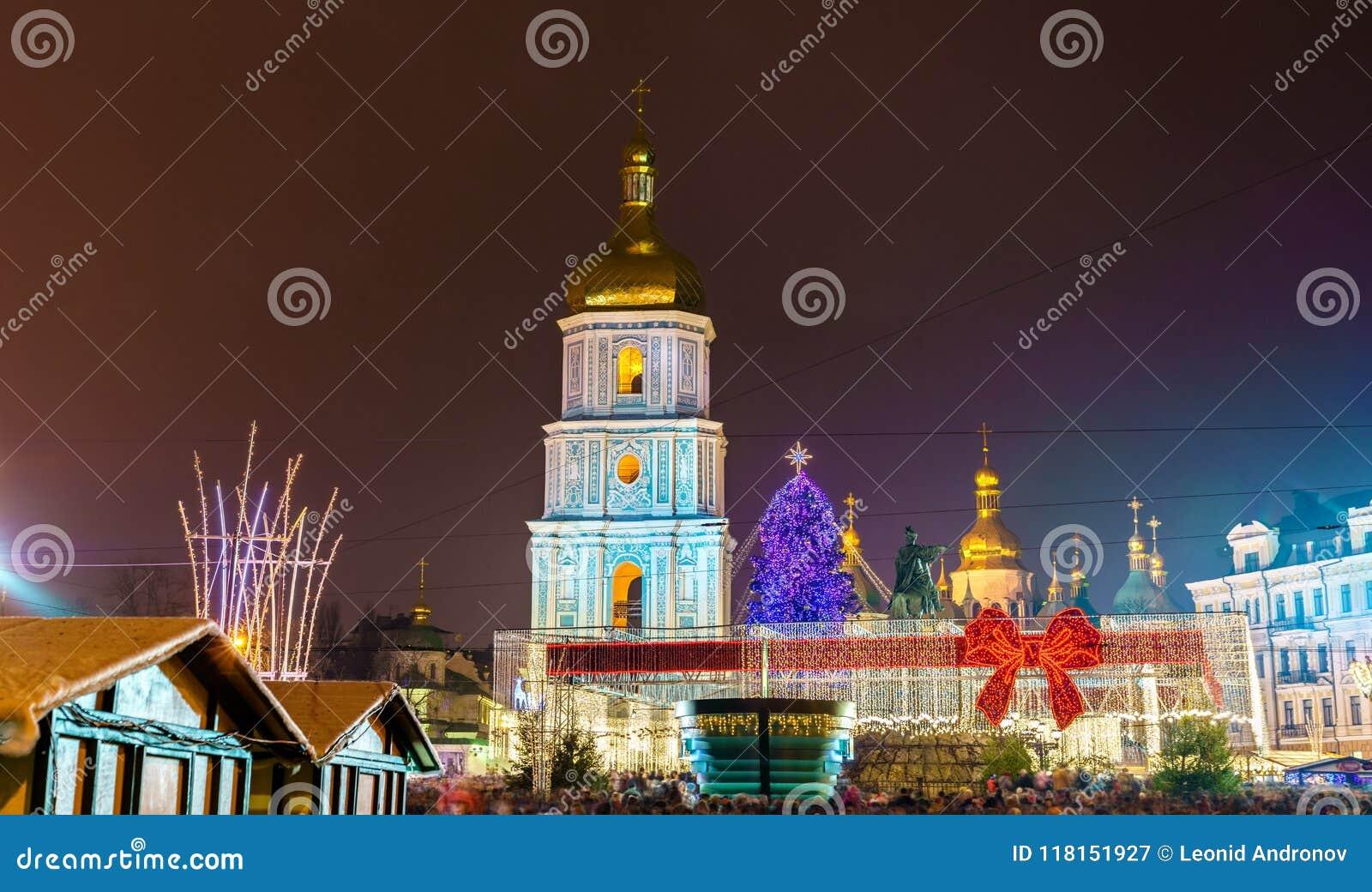 Boże Narodzenia targowi i świętego Sophia katedra, UNESCO światowego dziedzictwa miejsce w Kijów, Ukraina