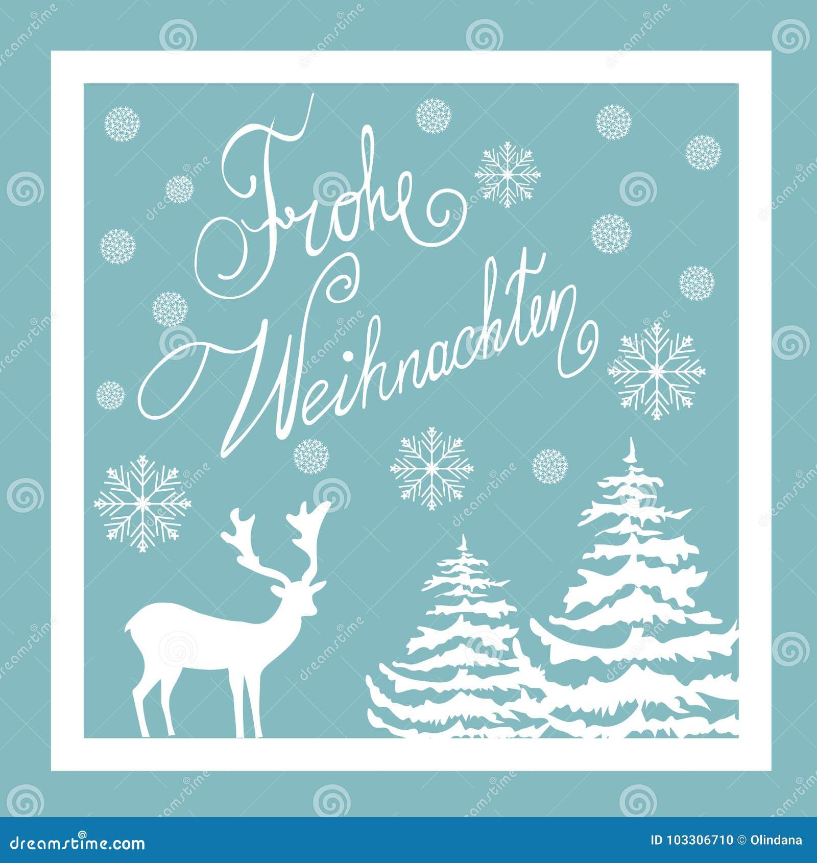 Boże Narodzenia Wręczają Patroszonego Wektorowego kartka z pozdrowieniami Biali Jeleni Jedlinowych drzew śniegu płatki niebieska