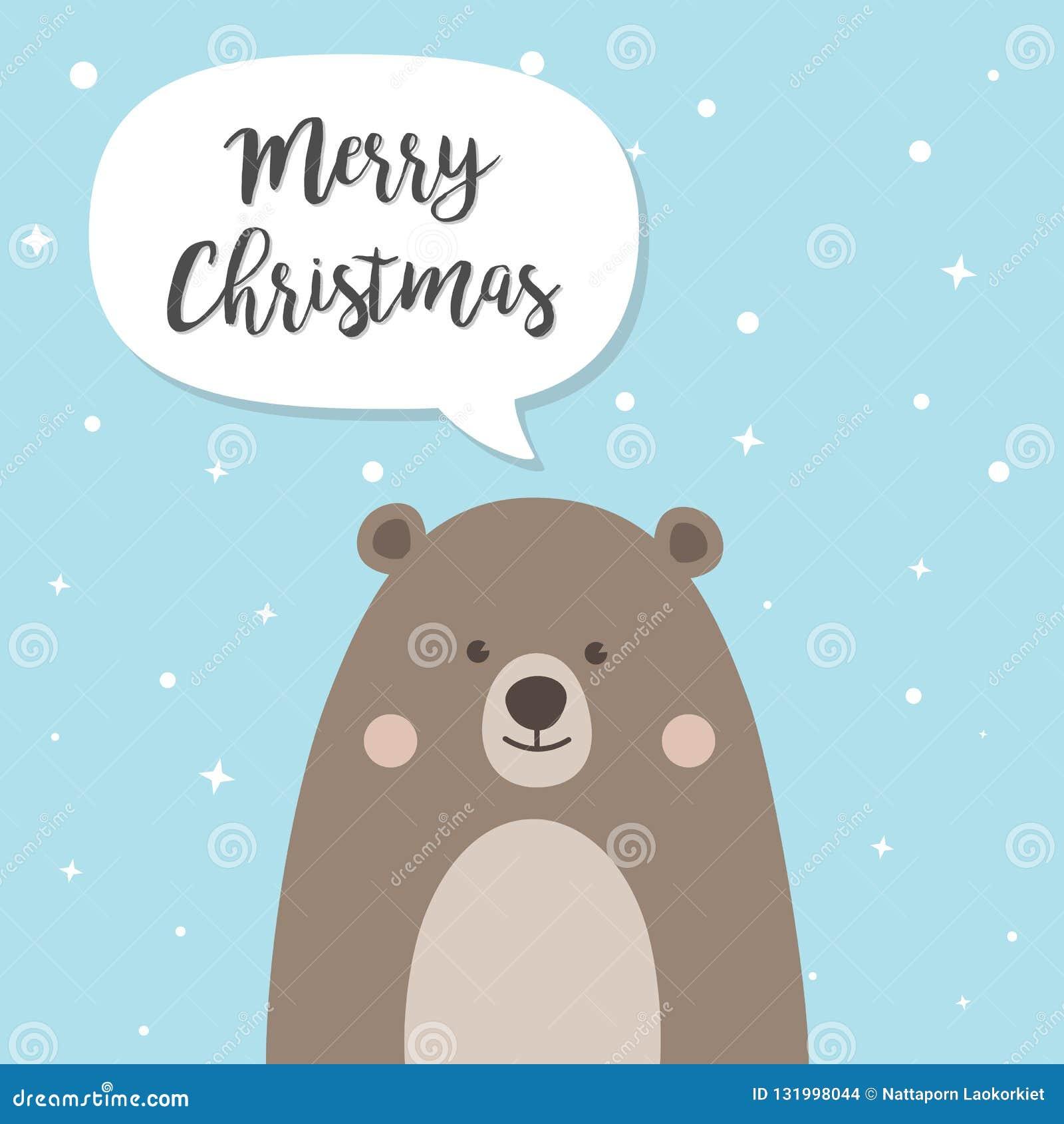 Boże Narodzenia Znoszą postać z kreskówki, Śliczny Brown miś z s