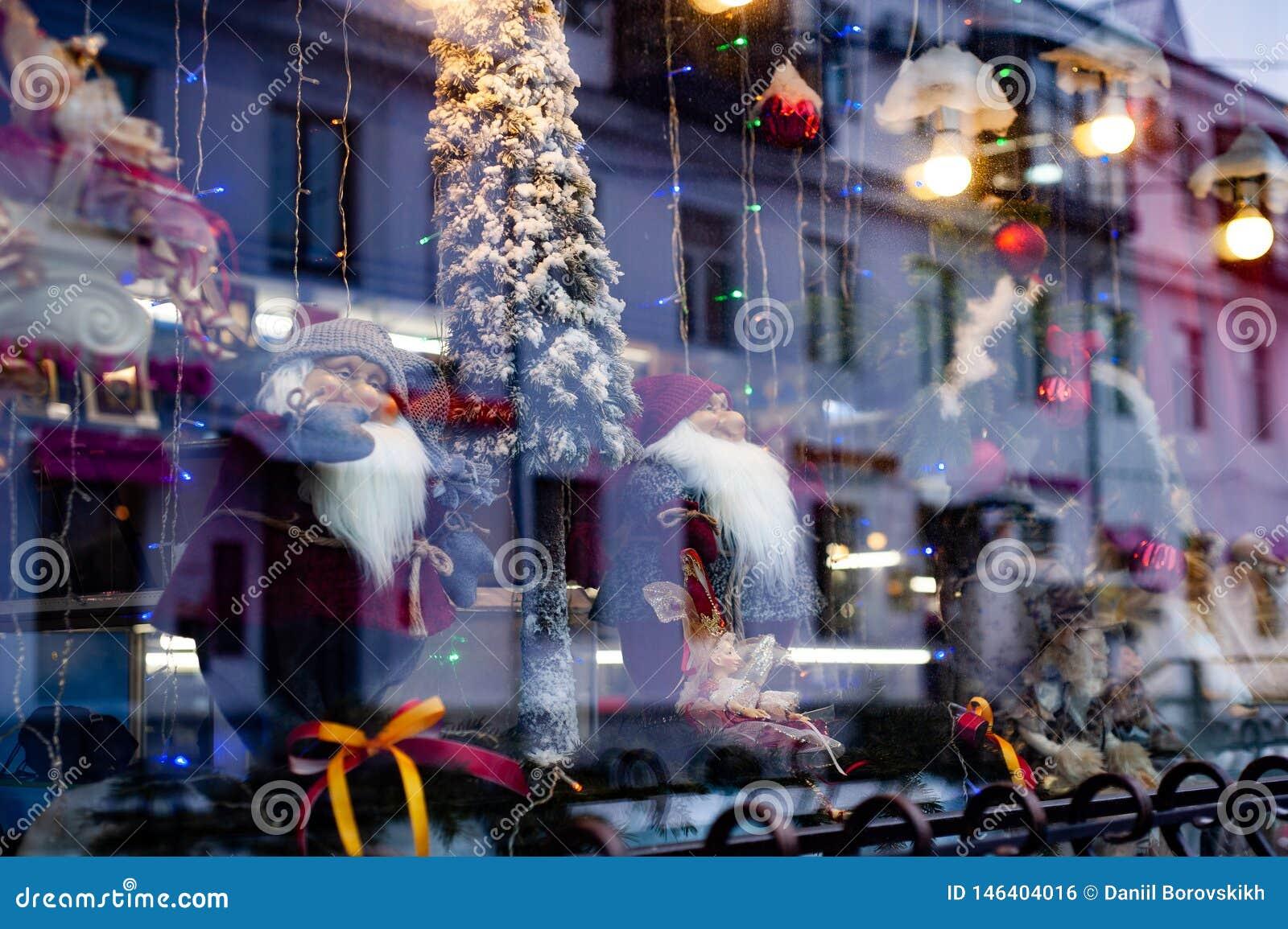 Boże Narodzenie gablota wystawowa z kukłami