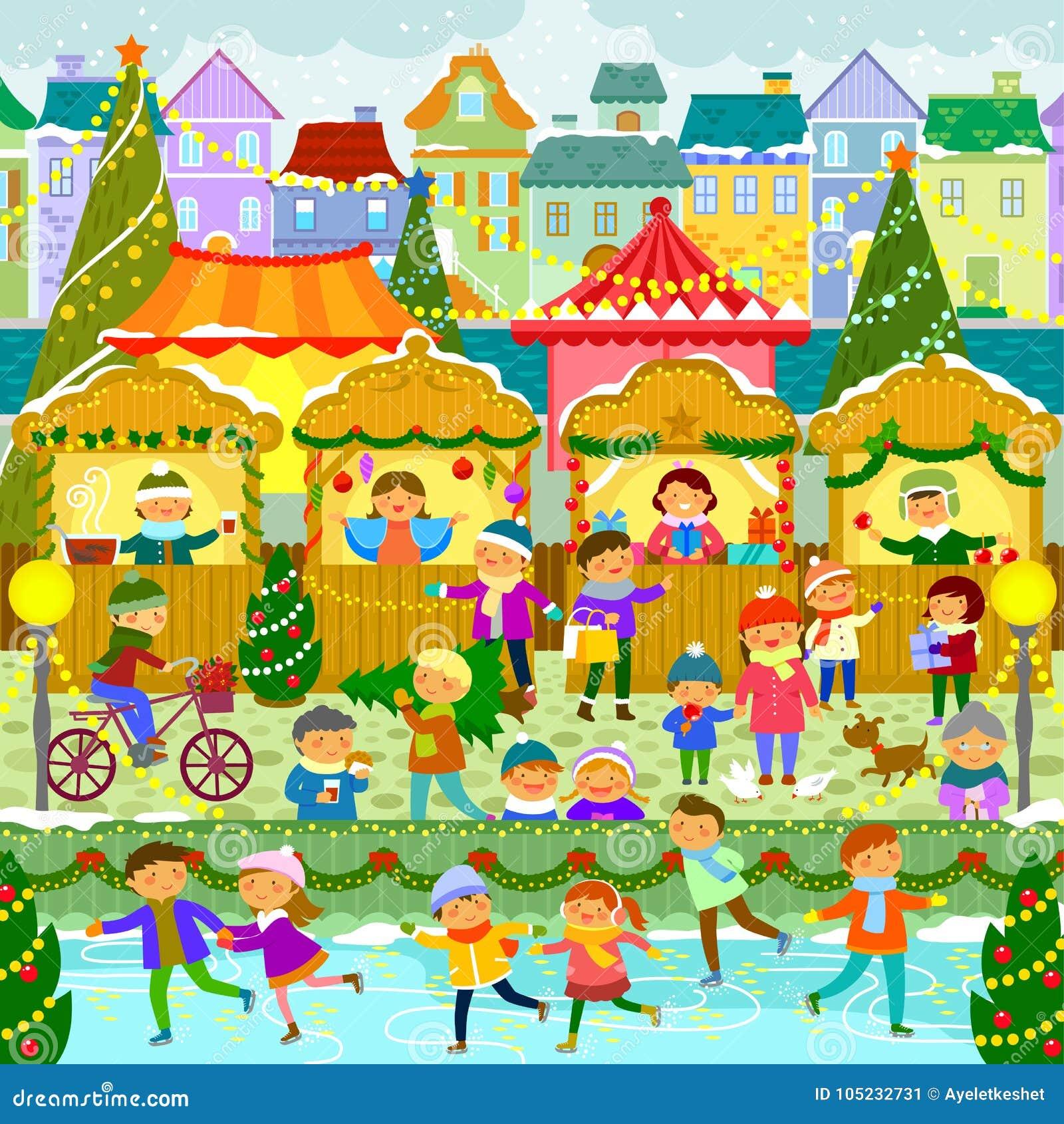 Boże Narodzenie rynek W miasteczku