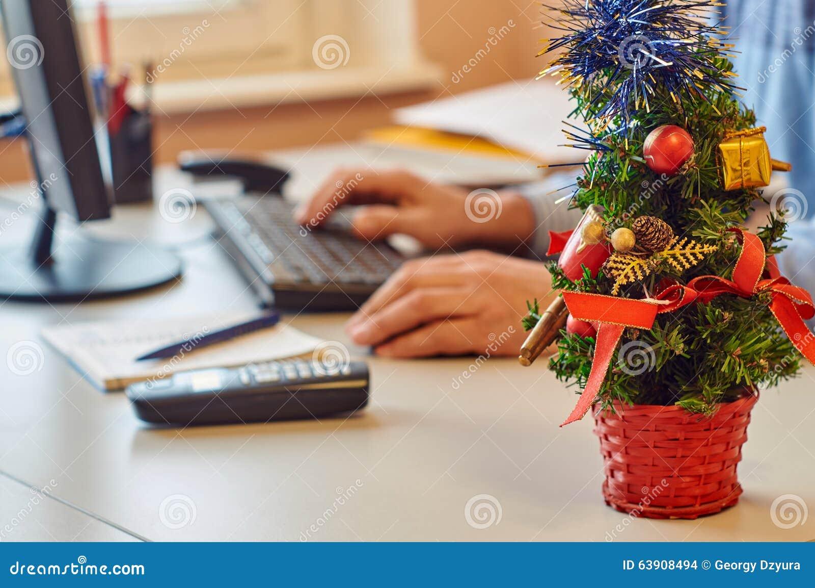 Bożenarodzeniowa Biurowa Dekoracja Zdjęcie Stock Obraz Złożonej Z