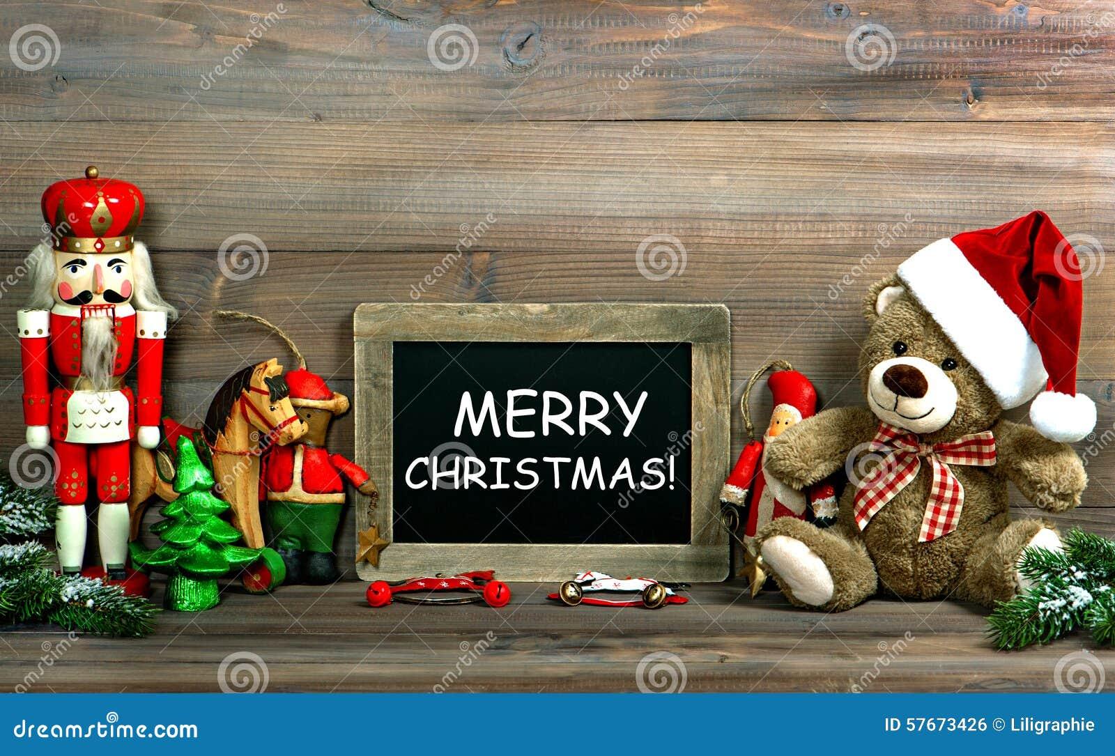 Bożenarodzeniowa dekoracja z antyka blackboard i zabawkami