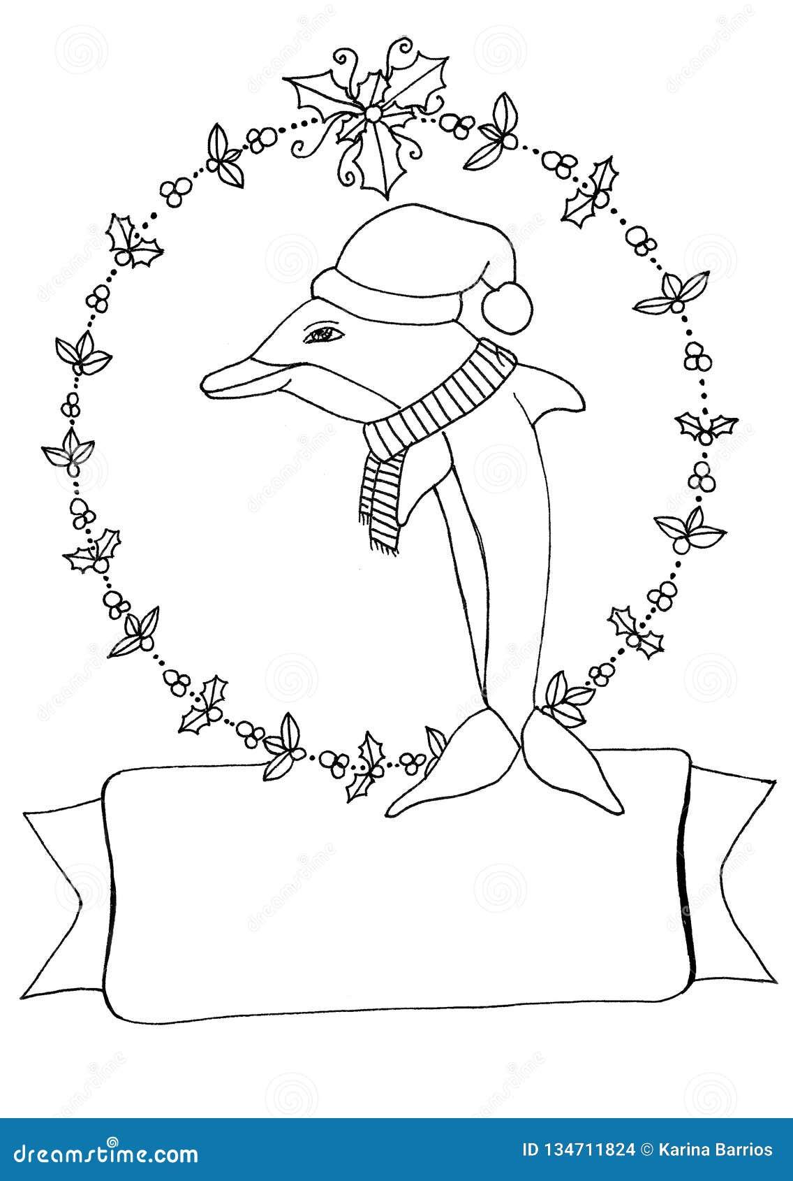 Bożenarodzeniowa delfin kolorystyki strona