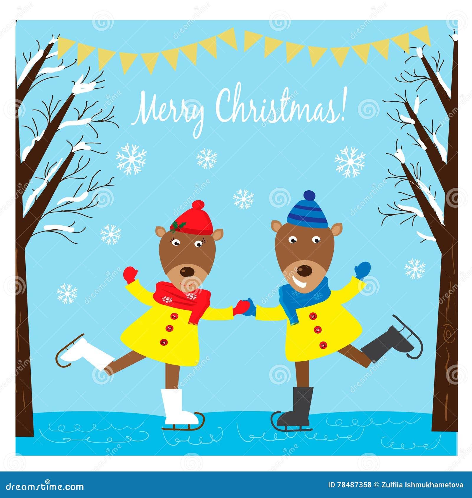 Bożenarodzeniowa ilustracja z śmiesznymi deers jeździć na łyżwach na lodzie