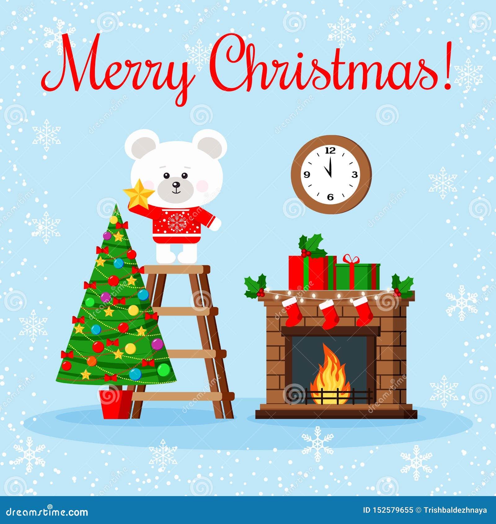 Bożenarodzeniowa kartka z pozdrowieniami: śliczny niedźwiedź polarny w czerwonym pulowerze stawia gwiazdę na wierzchołku dekorują
