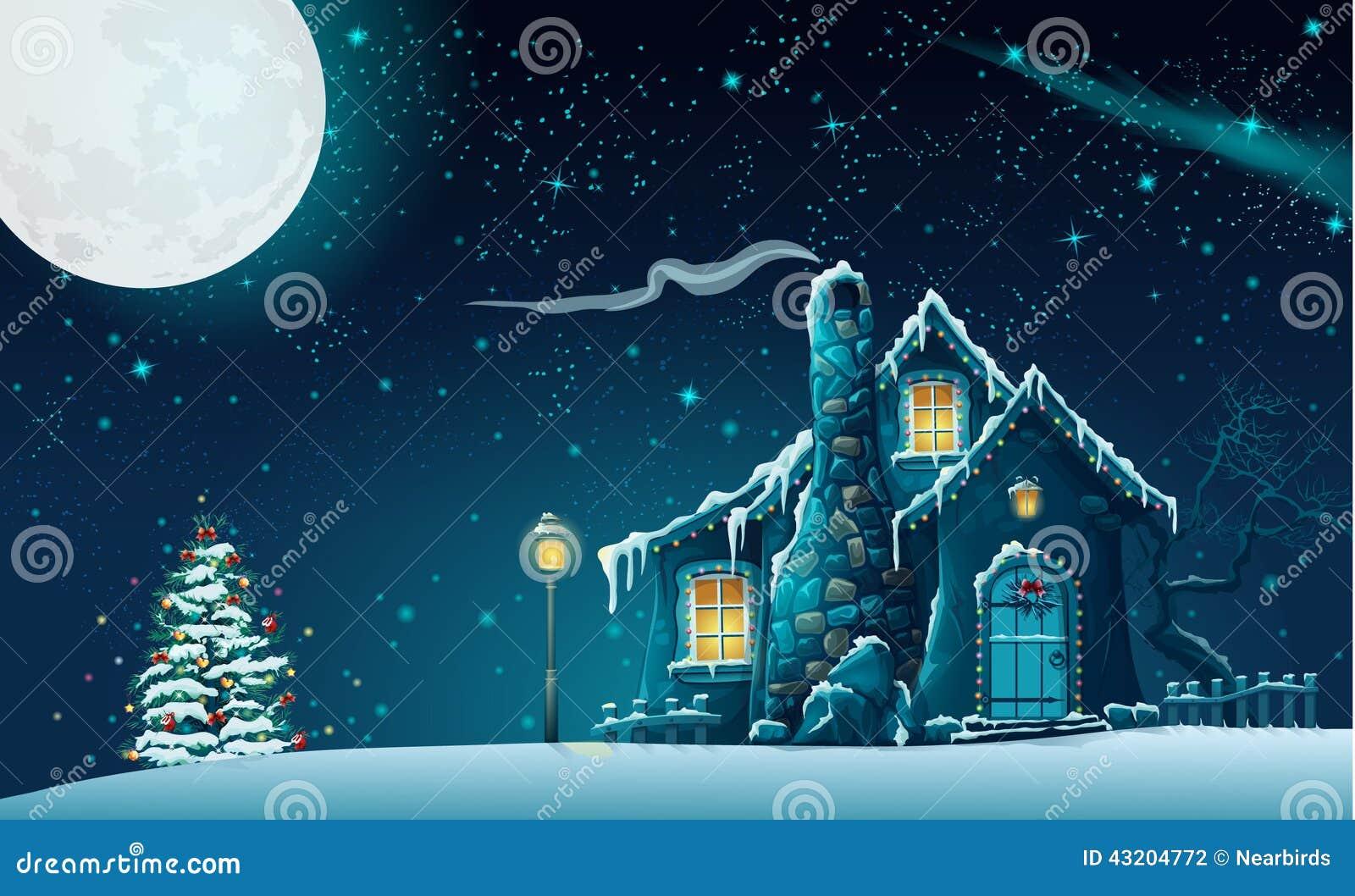 Bożenarodzeniowa noc z bajecznie domem i choinką