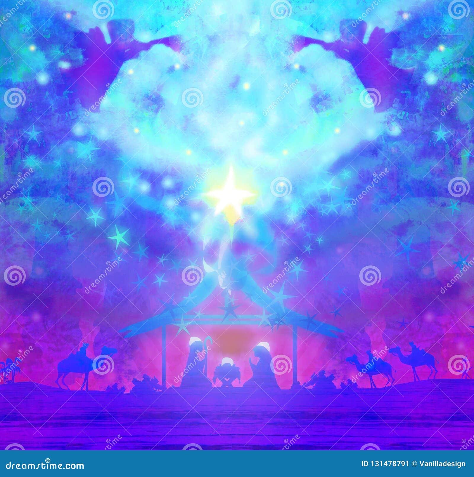 Bożenarodzeniowa religijna narodzenie jezusa scena z aniołami
