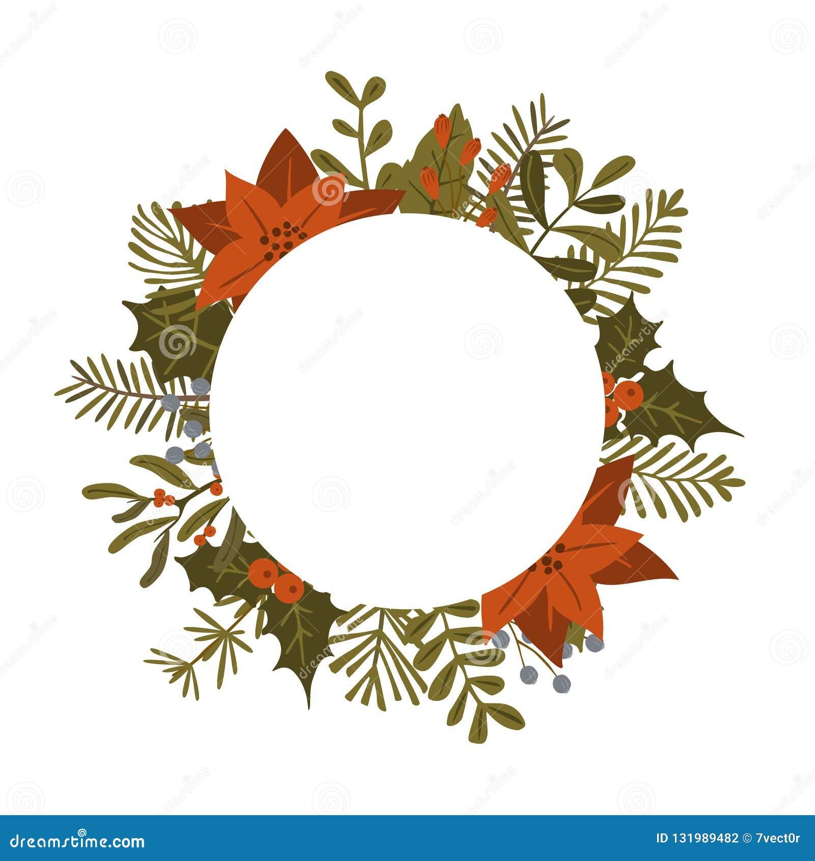 Bożenarodzeniowe zimy ulistnienia rośliny, poinsecja kwitną liść gałąź, czerwony jagoda okręgu round ramy szablon, odosobniony we