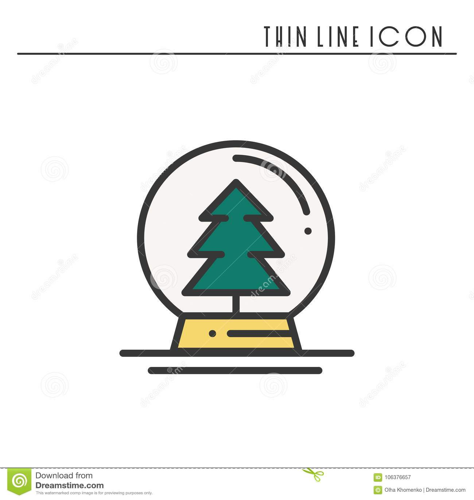 Bożenarodzeniowej śnieżnej piłki cienka kreskowa ikona Choinki świerczyny jodła Nowego Roku świętowanie dekorujący piktogram Xmas