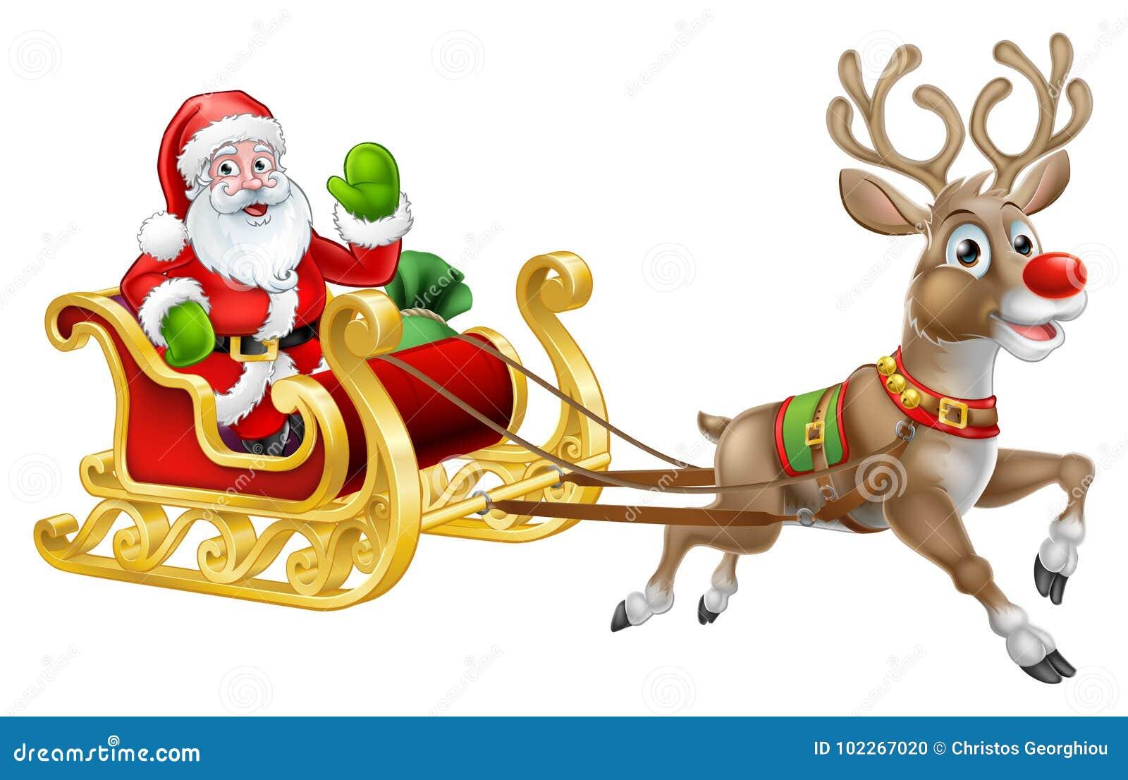 Bożenarodzeniowy Święty Mikołaj sania sania renifer