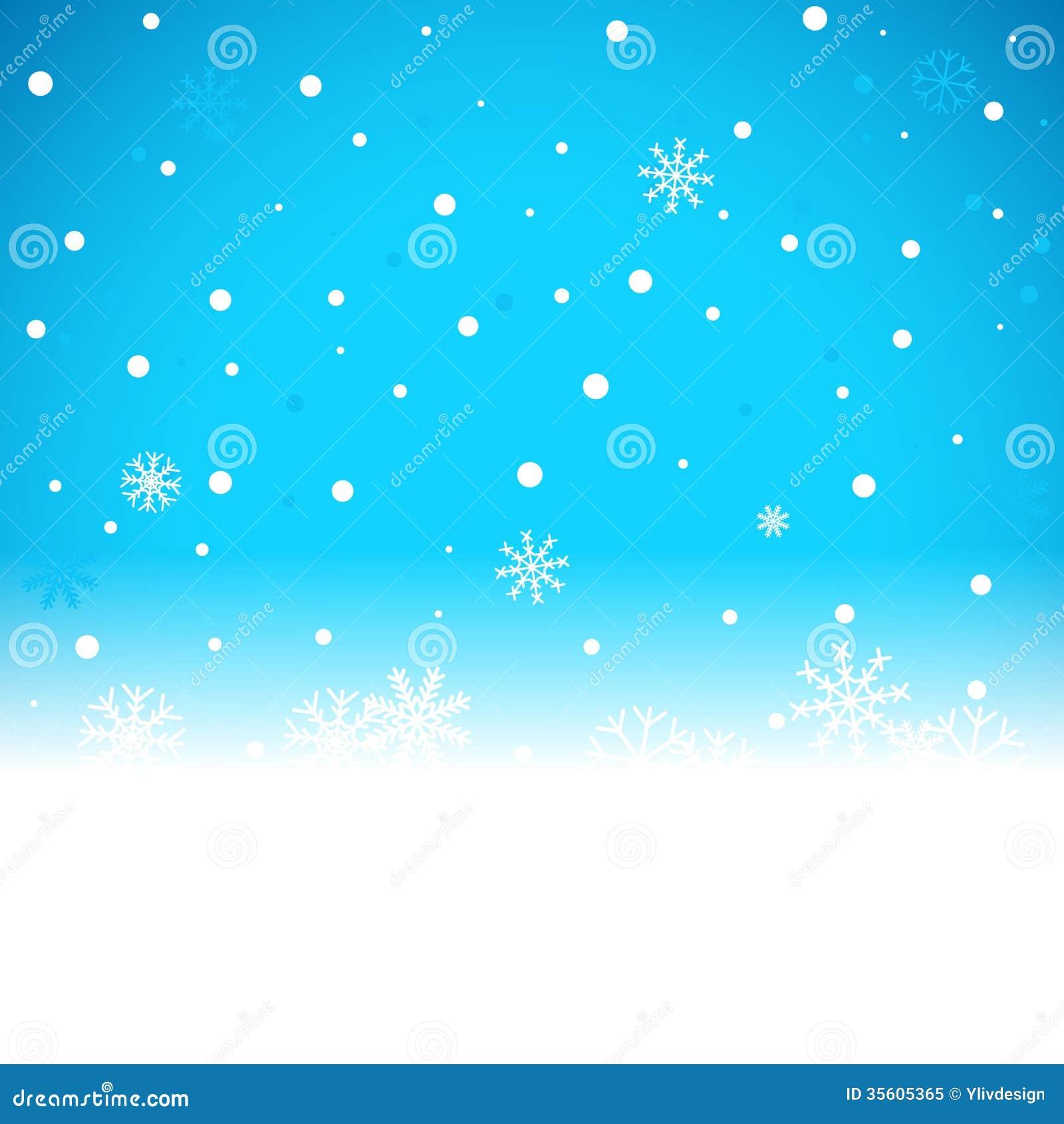 Bożenarodzeniowy błękitny tło z śnieżnymi płatkami