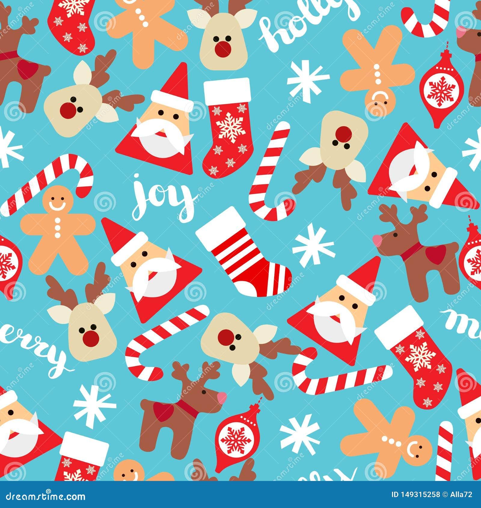 Bożenarodzeniowy bezszwowy tło z Santa, skarpetami, prezentów pudełkami i cukierek trzcinami, Wektorowy bezszwowy mieszkanie wzór