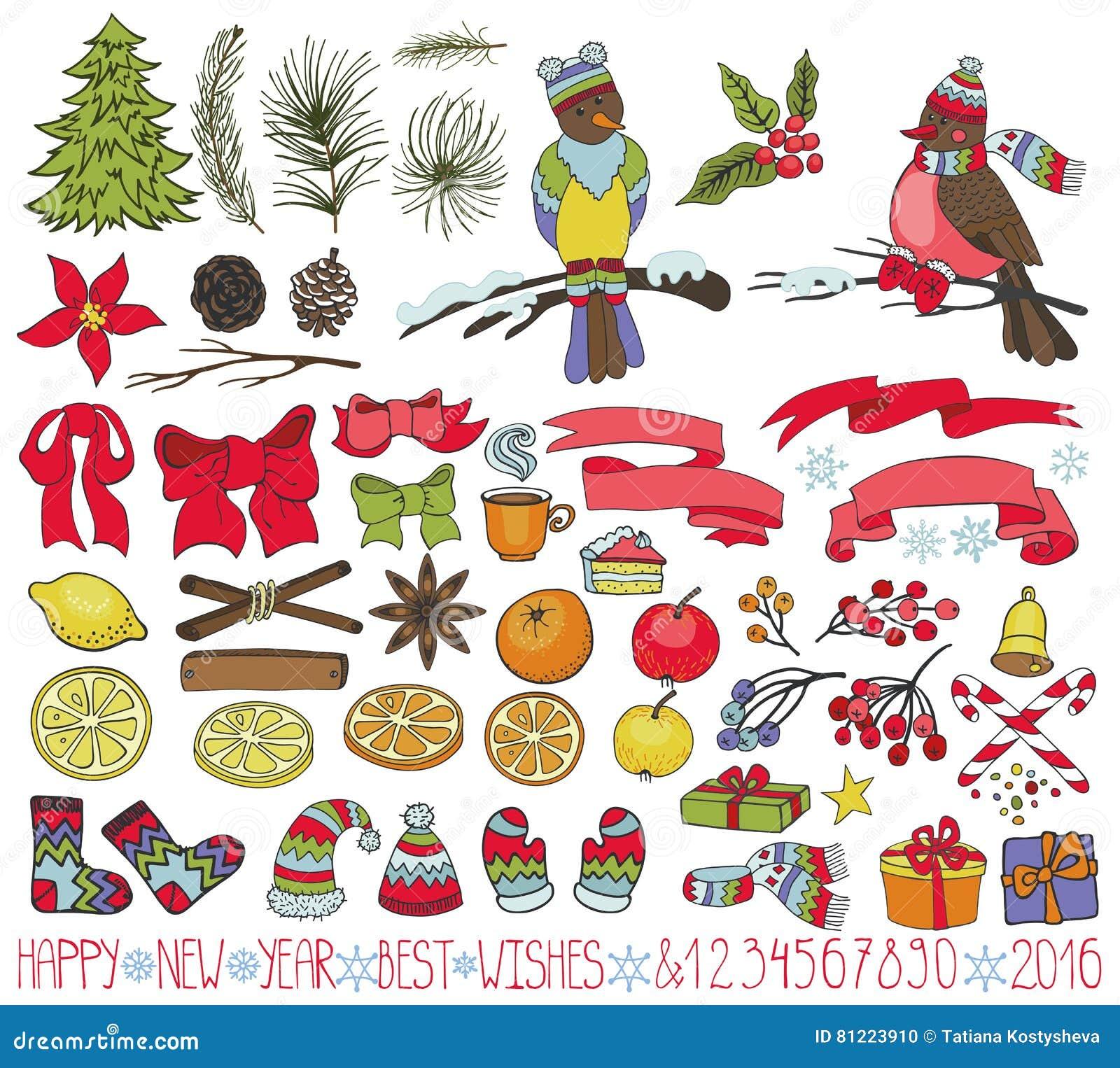 Bożenarodzeniowy dekoracja zestaw Doodles z ptakami