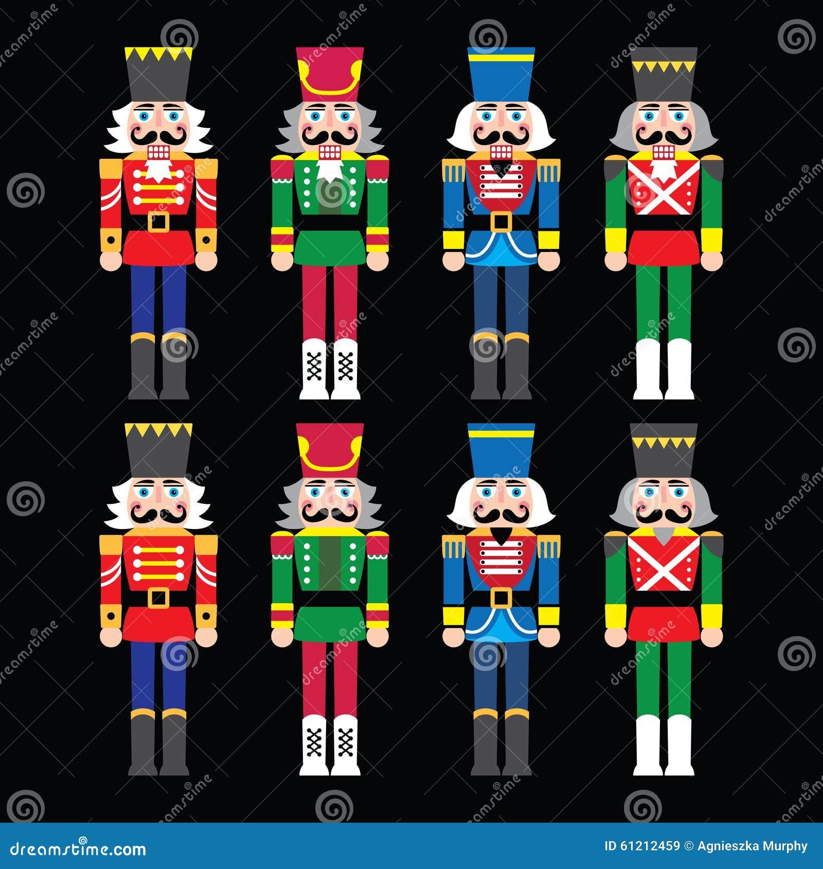 Bożenarodzeniowy dziadek do orzechów - żołnierz figurki ikony ustawiać na czerni