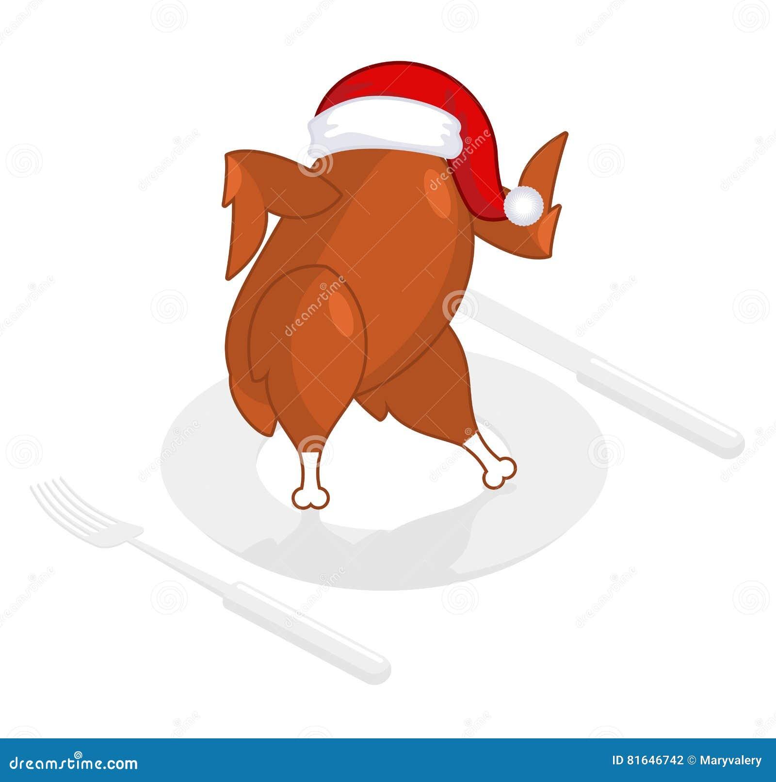 Bożenarodzeniowy indyk w Święty Mikołaj nakrętce Pieczony ptactwo na talerzu smażący
