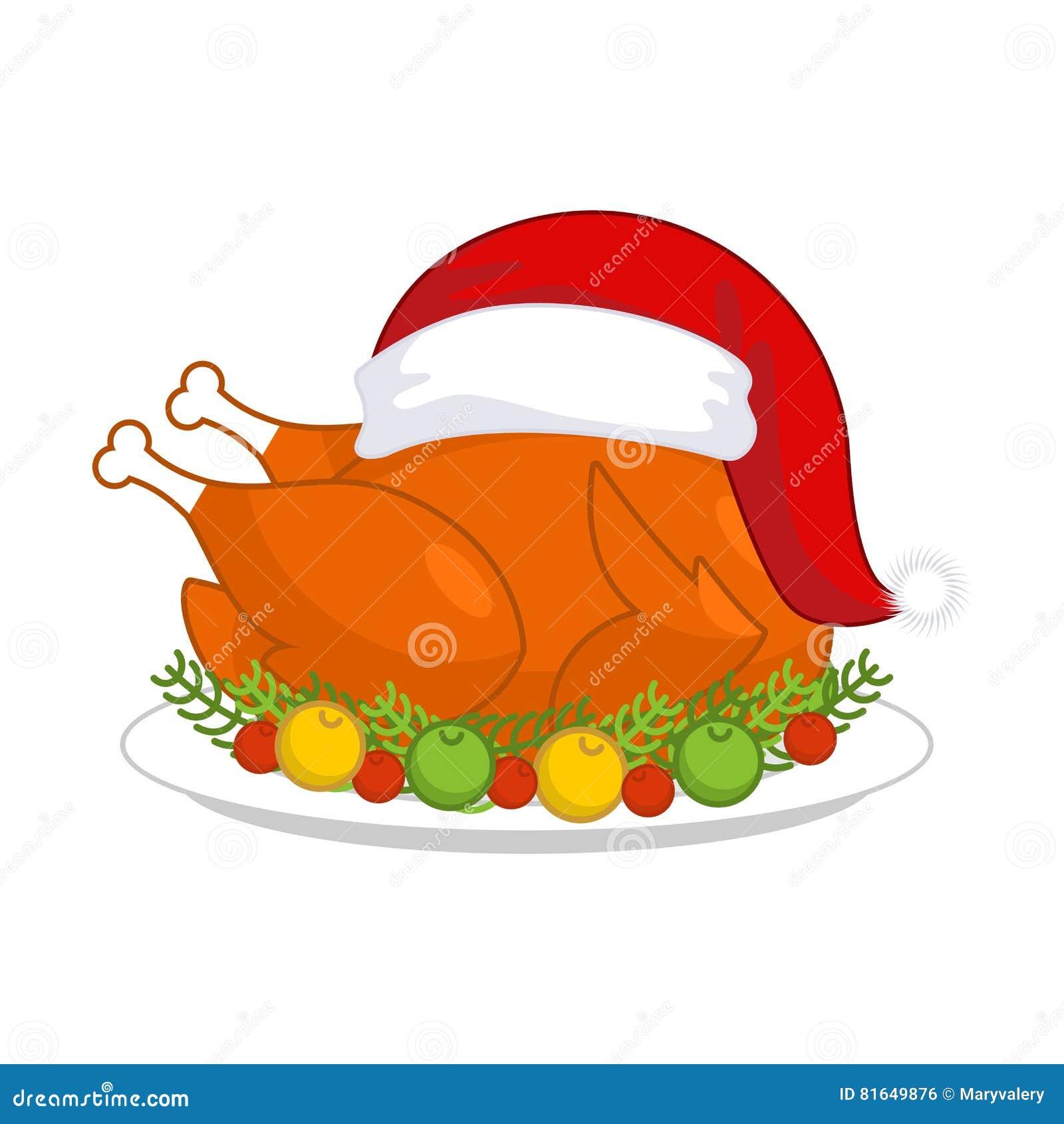 Bożenarodzeniowy indyk w Święty Mikołaj nakrętce Pieczony ptactwo na talerzu z ve
