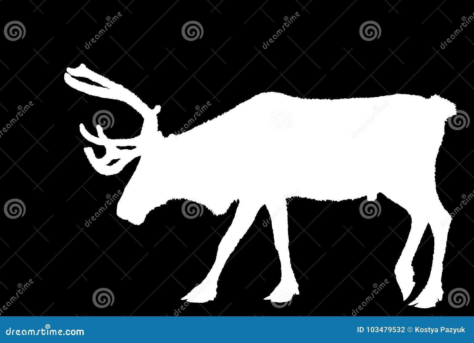 Bożenarodzeniowy jeleni biel na czerni