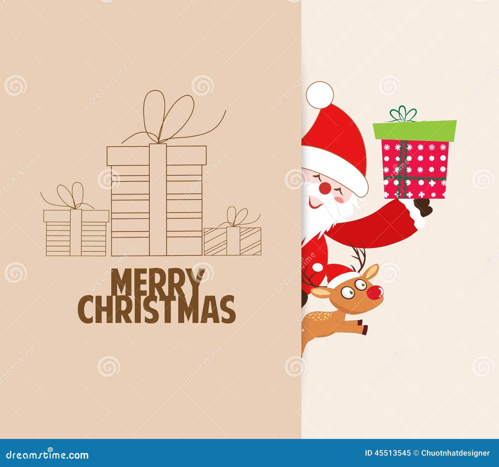 Bożenarodzeniowy kartka z pozdrowieniami z Santa Claus, prezenty, rogacz