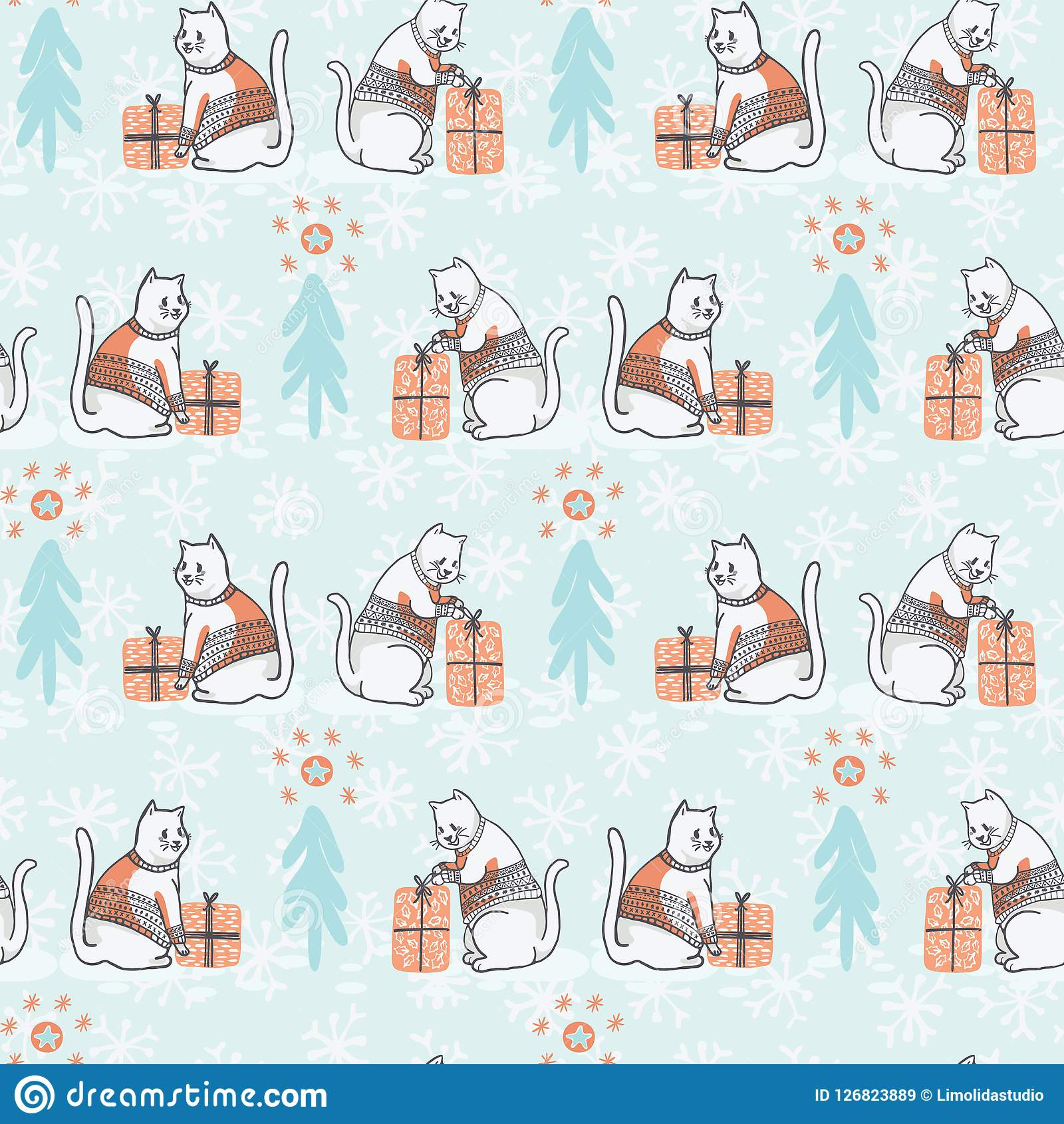 Bożenarodzeniowy kot w Hafciarskiego puloweru wektoru Bezszwowym wzorze