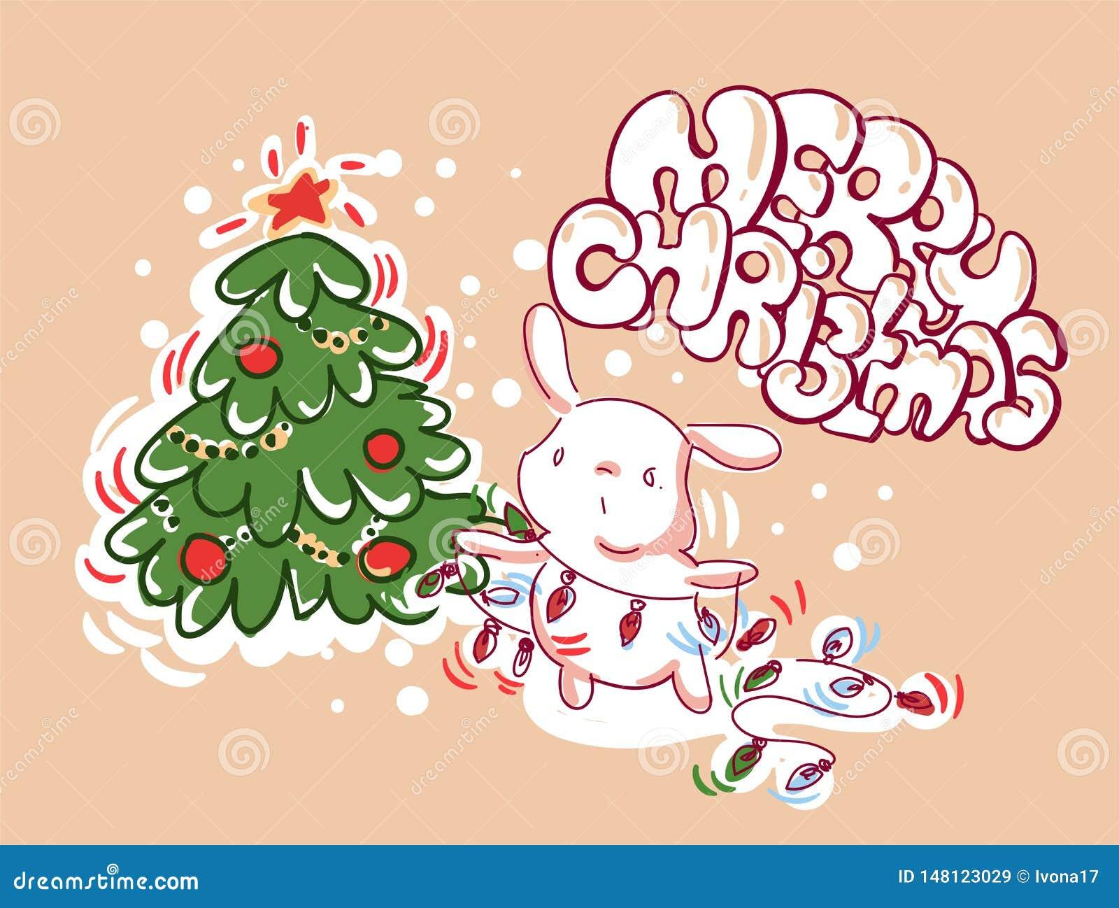Bożenarodzeniowy królik dekoracji świateł karty doodle styl