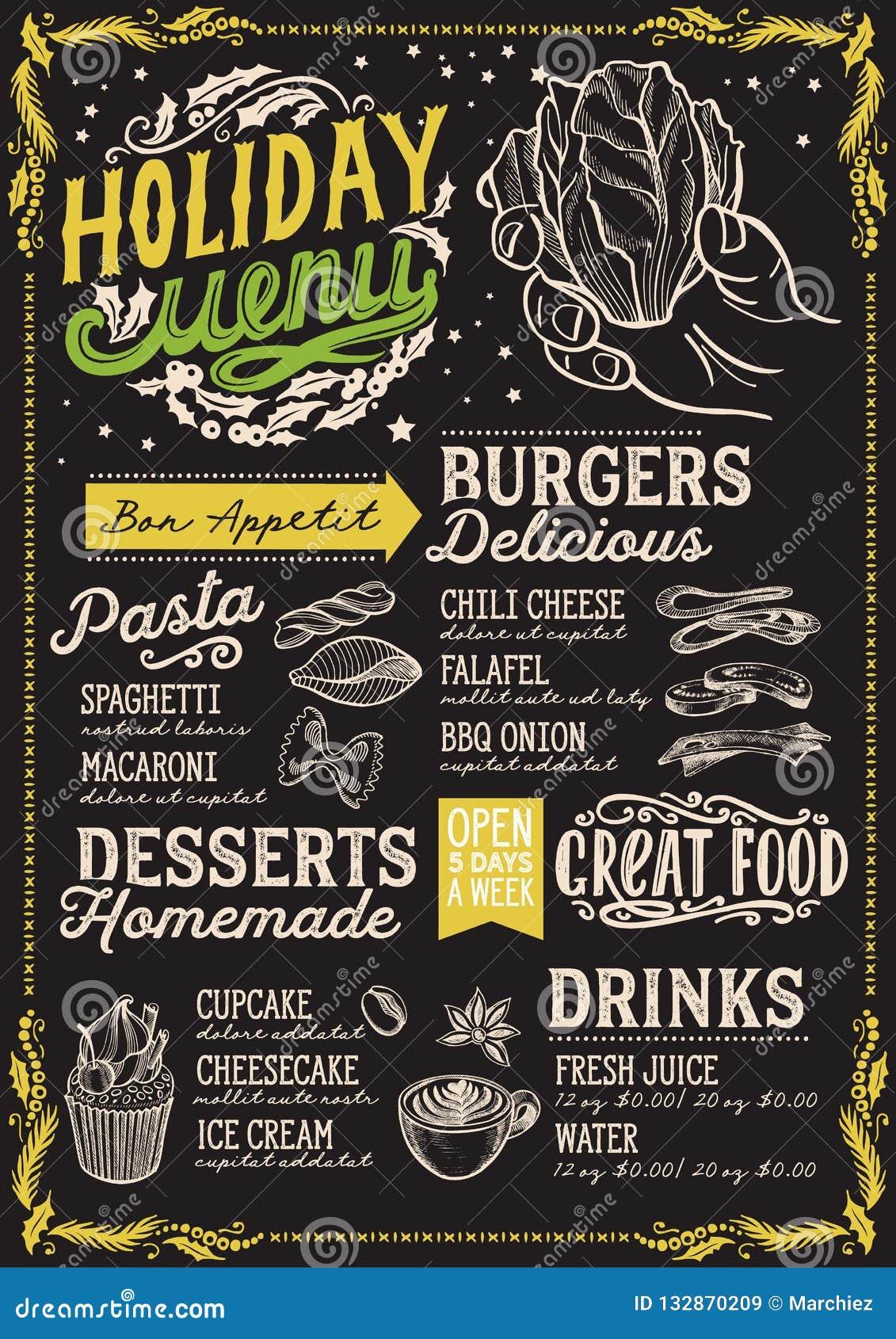 Bożenarodzeniowy menu szablon dla jarskiej restauraci