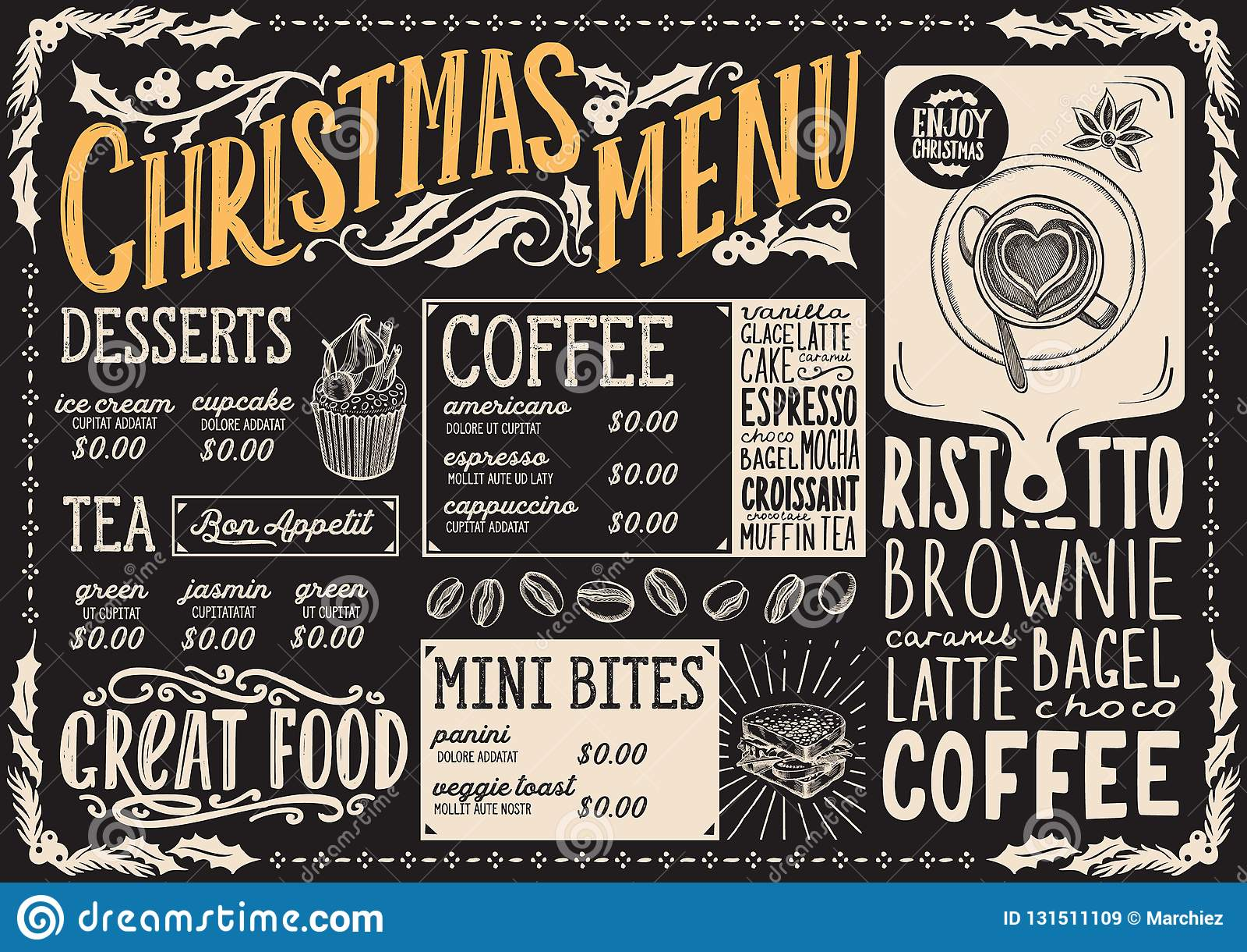 Bożenarodzeniowy menu szablon dla sklepu z kawą na blackboard wektorowej ilustracyjnej broszurce dla xmas dnia świętowania Projek