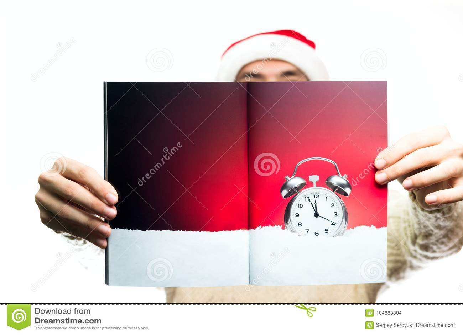 Bożenarodzeniowy nowego roku pojęcia jedzenie i cukierki Mężczyzna w Santa Claus h