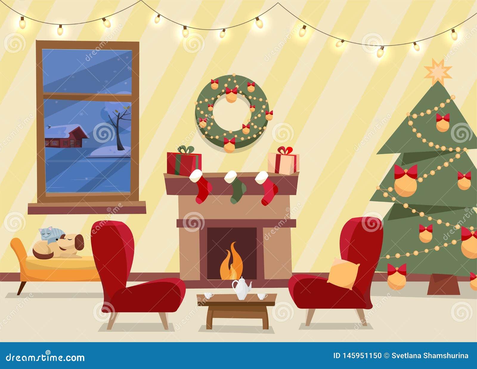 Bo?enarodzeniowy p?aski wektor dekoruj?cy ?ywy pok?j Wygodny domowy wn?trze z meble, kar?a, okno zima wiecz?r
