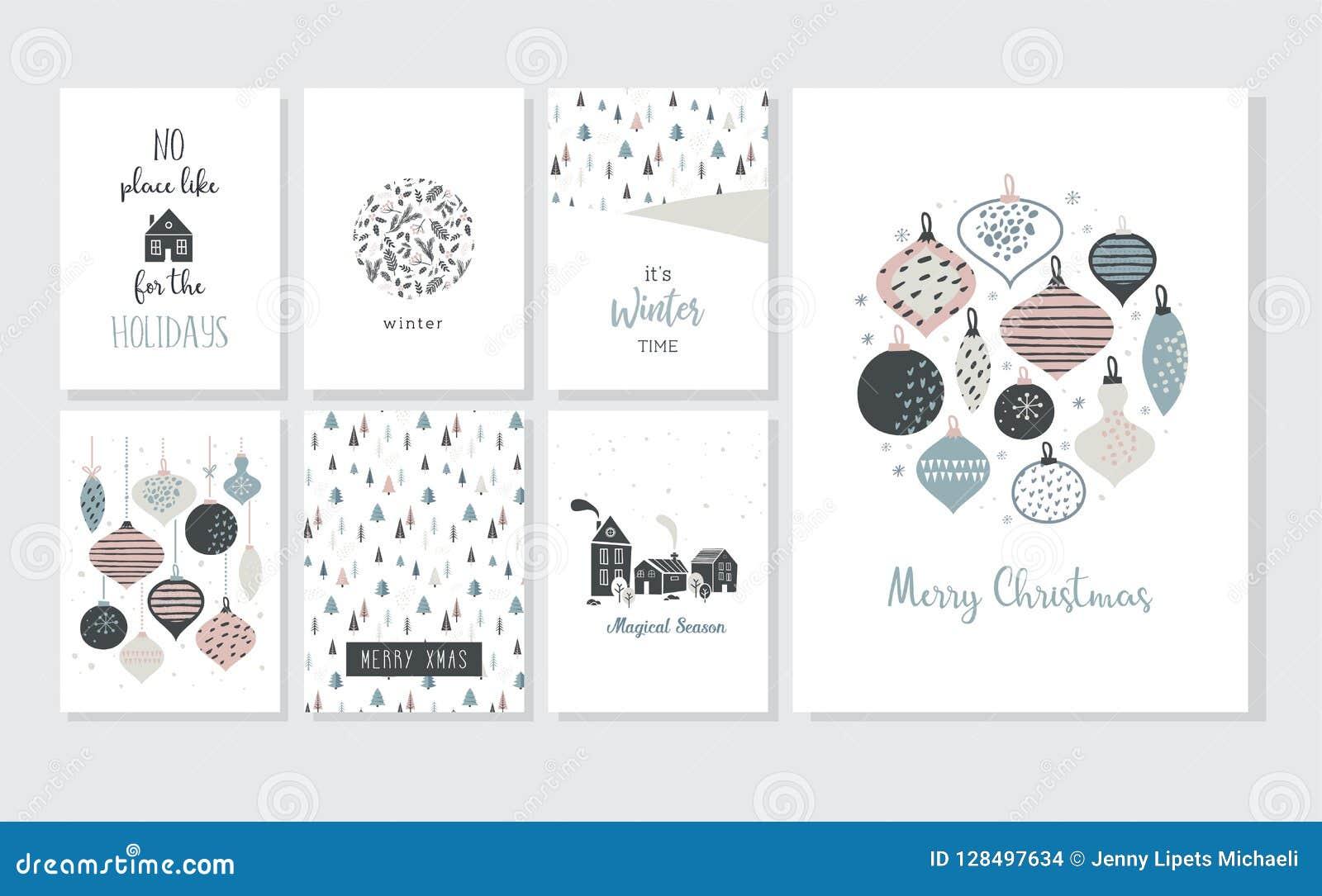 Bożenarodzeniowy plakat i kartka z pozdrowieniami w retro stylu Bożenarodzeniowe piłki w pastelowych kolorach, zima krajobrazie i