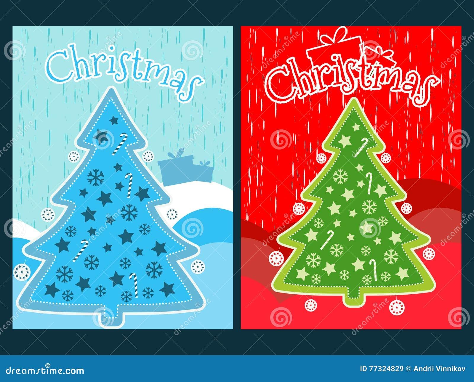 Bożenarodzeniowy plakat z choinką i ornamentami Nowego Roku świętowania kolaż