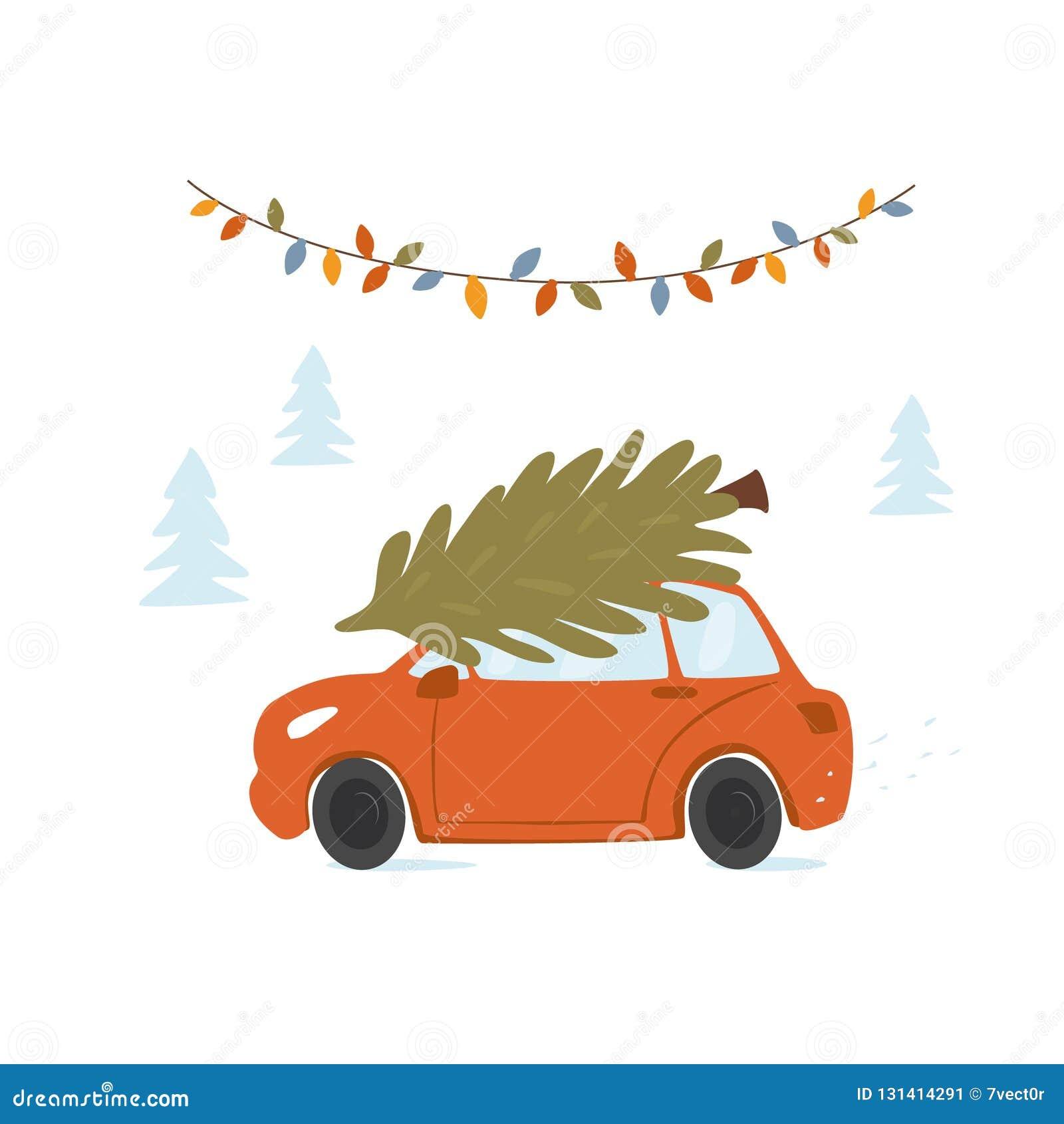 Bożenarodzeniowy samochodowy jeżdżenie do domu dla xmas z sosną na dachowym wierzchołku