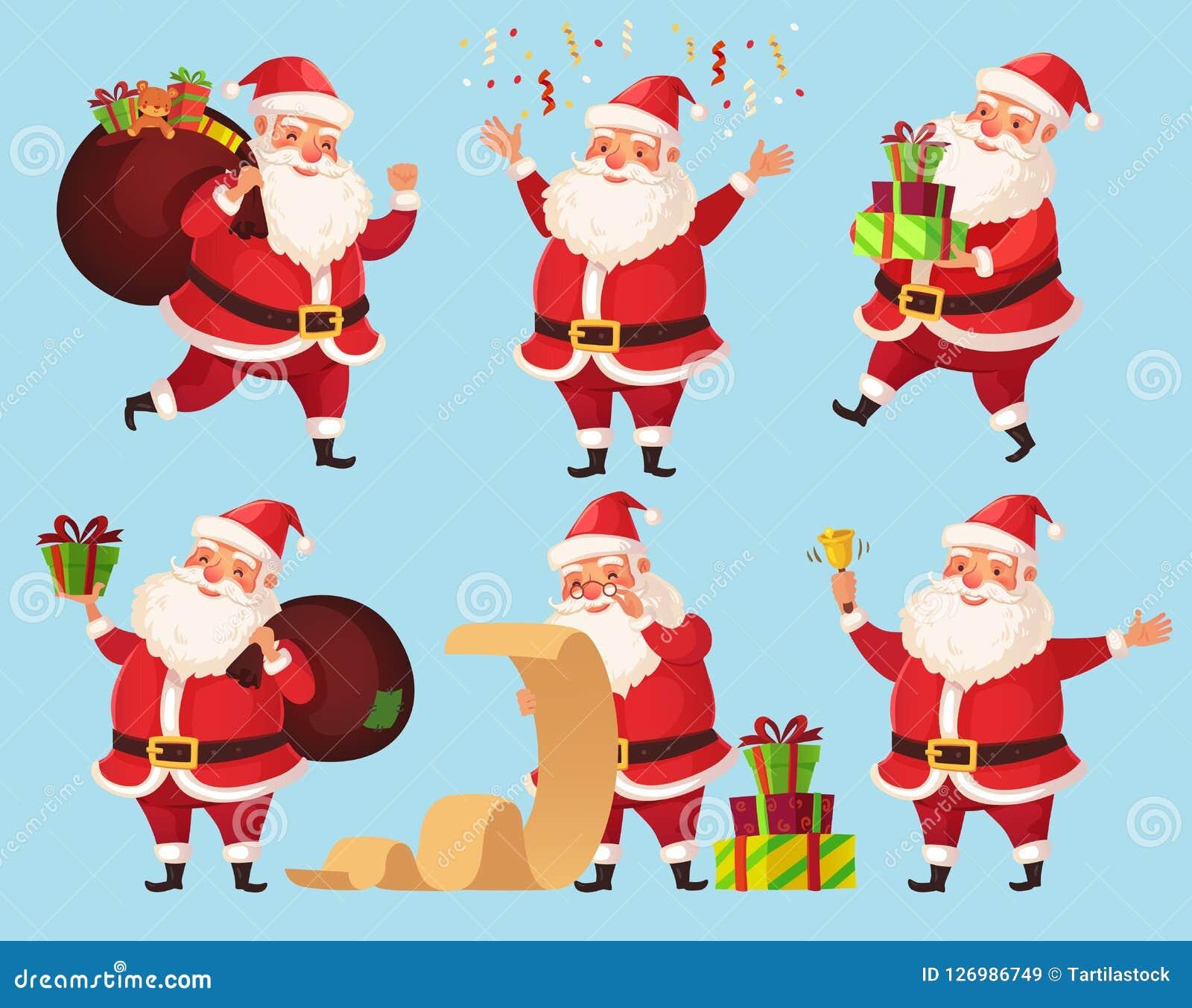 Bożenarodzeniowy Santa postać z kreskówki Śmieszny Święty Mikołaj z Xmas teraźniejszość, zima wakacje charakterów wektoru ilustra