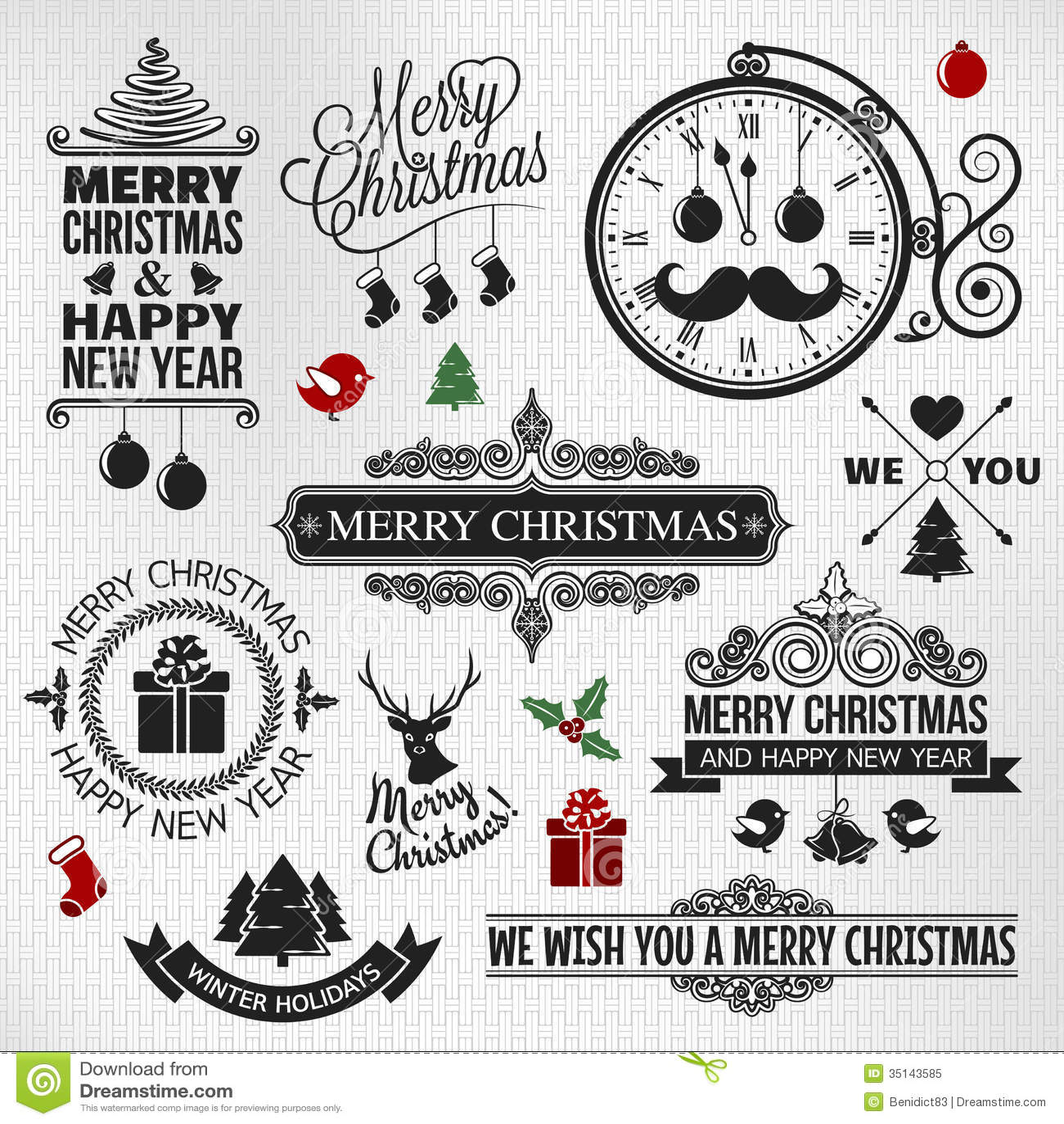 Bożenarodzeniowy szczęśliwy nowego roku rocznika orntae etykietki set