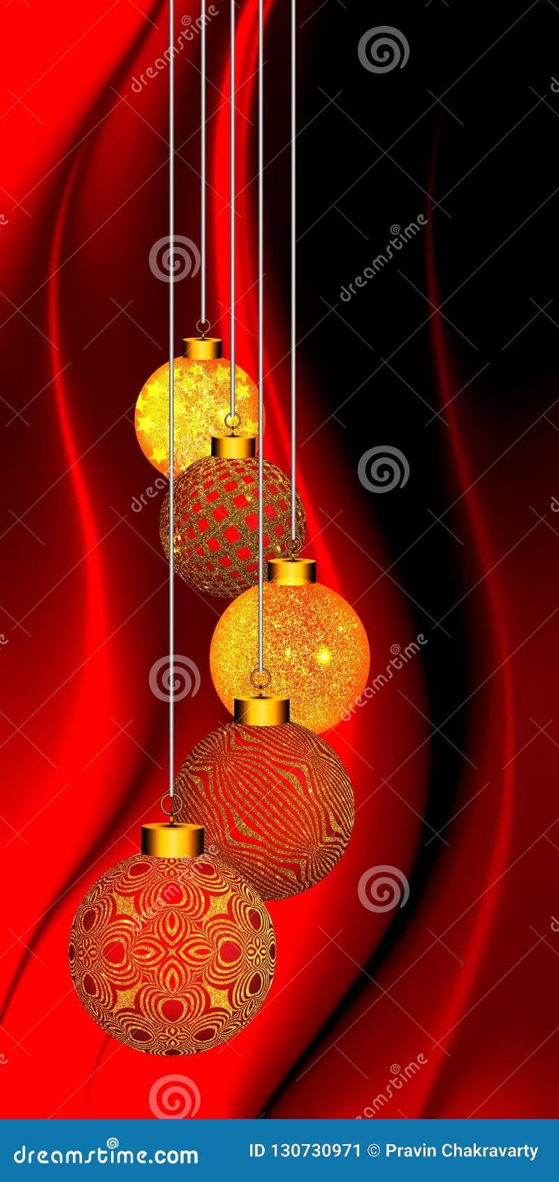 Bożenarodzeniowy tło z złocistym ornamentem na czerwonym i czarnym falistym tle
