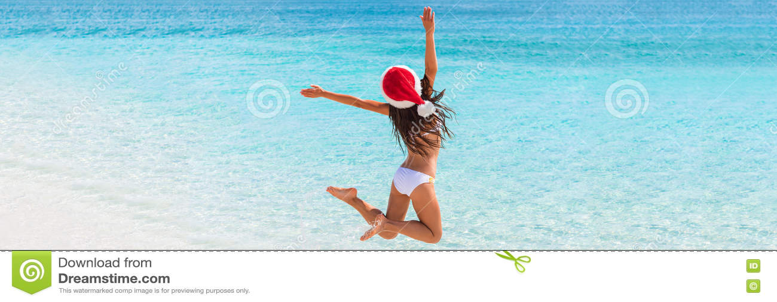 Bożenarodzeniowy zabawy plaży sztandaru panoramy tło