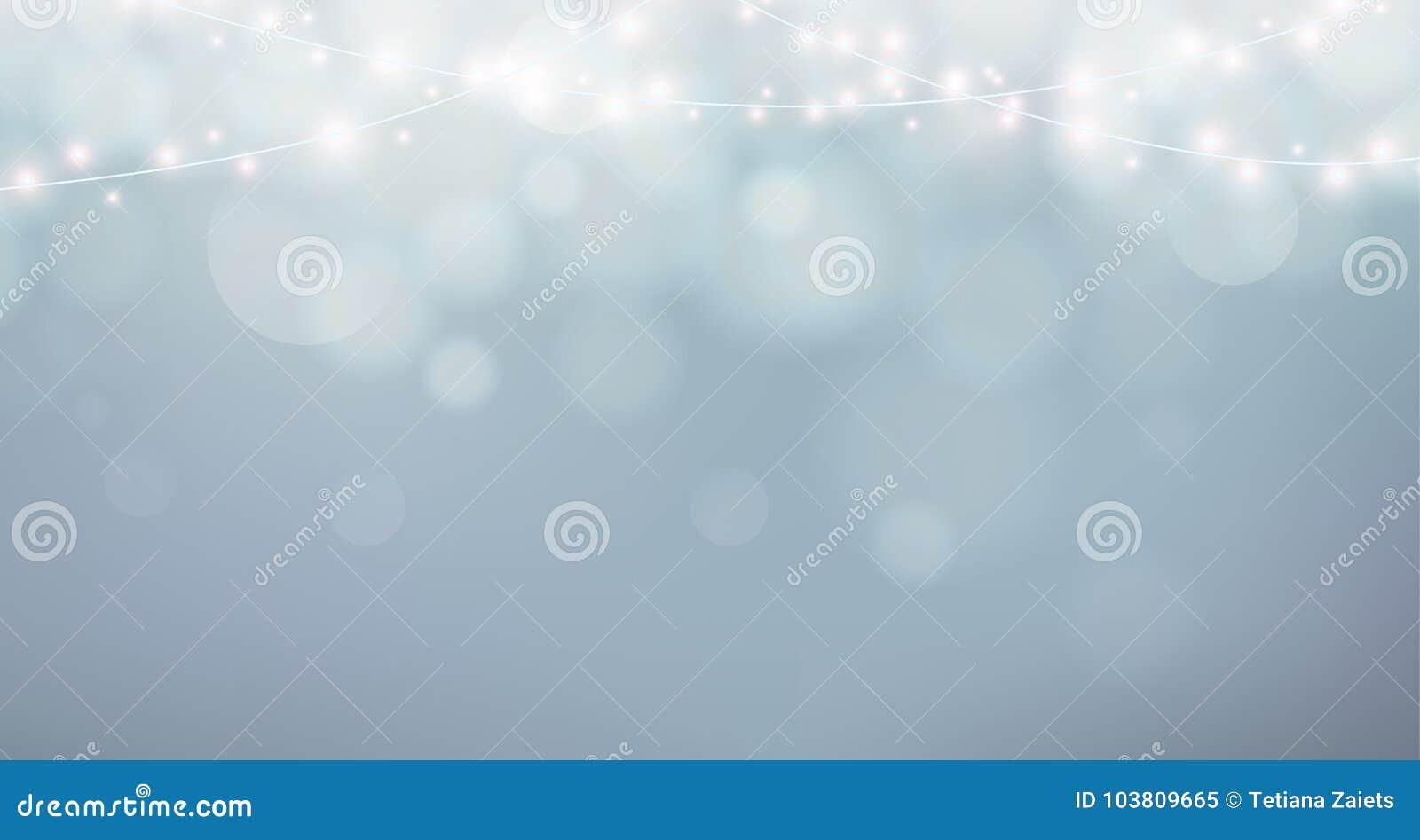 Bożonarodzeniowe Światła Xmas girlandy dekoracja Popielaty tło z połysk mgłą, bokeh