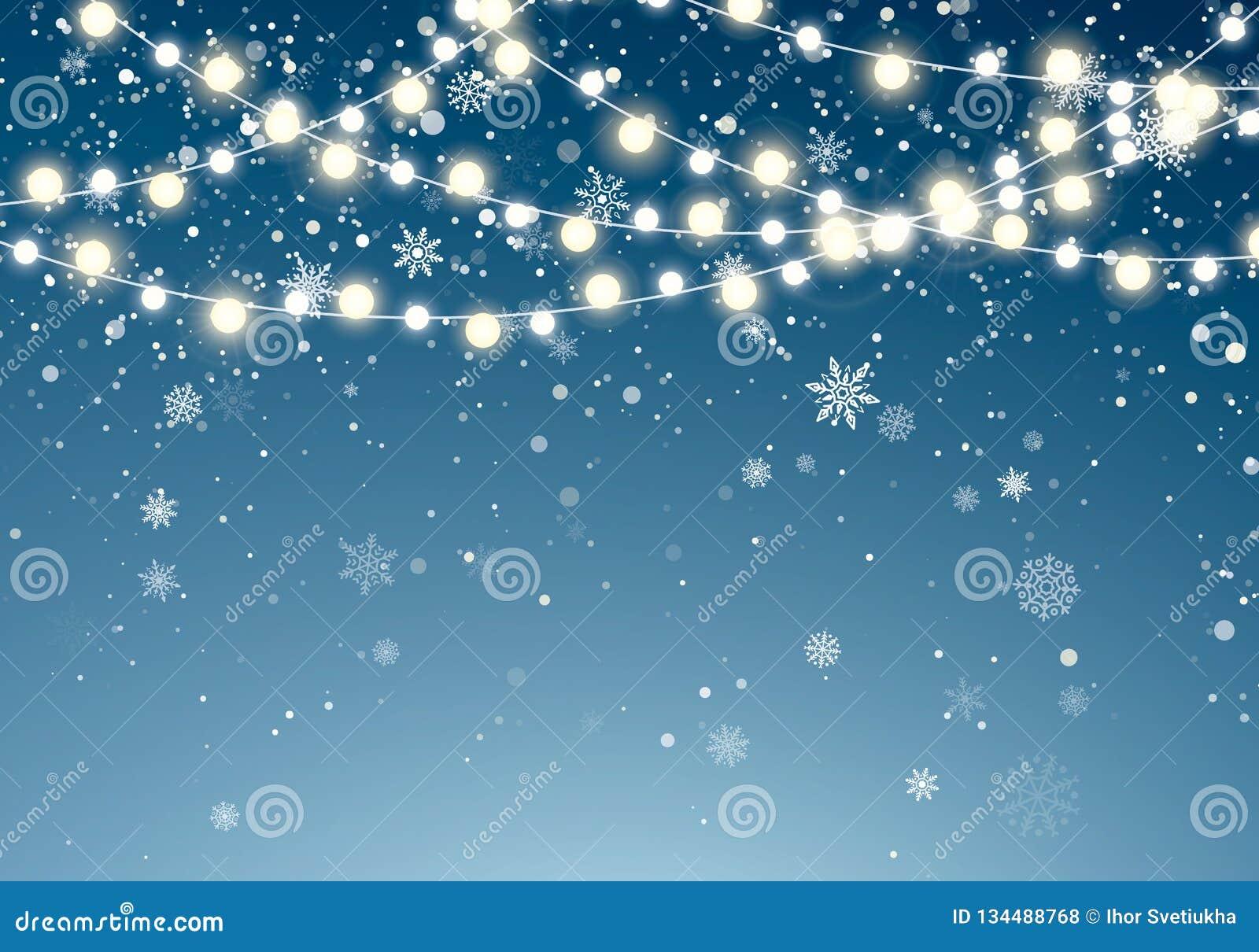 Bożonarodzeniowe światła z błyskotliwymi spada płatek śniegu na nocnego nieba tle Xmas rozjarzona girlanda Bożenarodzeniowy opad