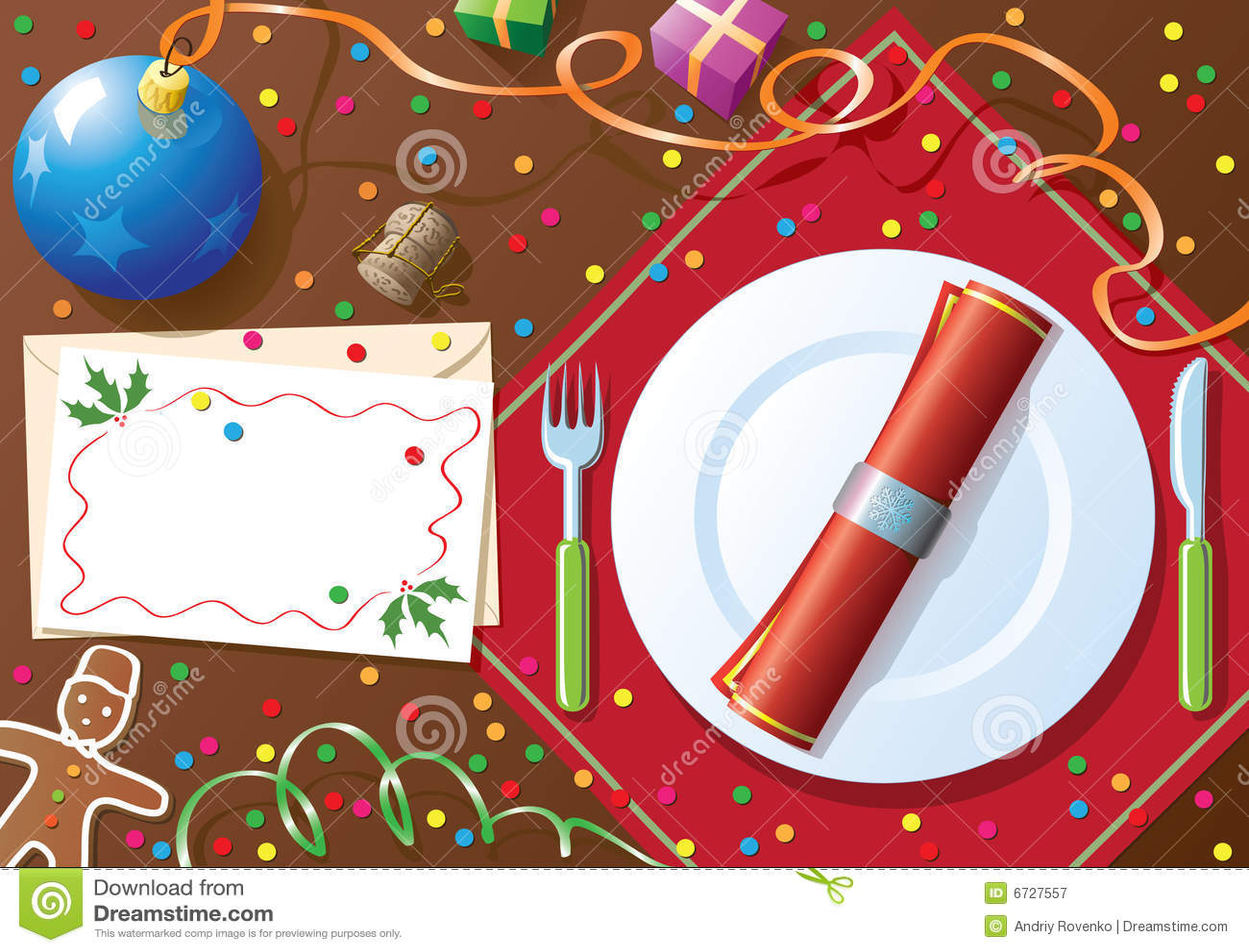 Bożych Narodzeń Gość Restauracji Stół Ilustracja Wektor