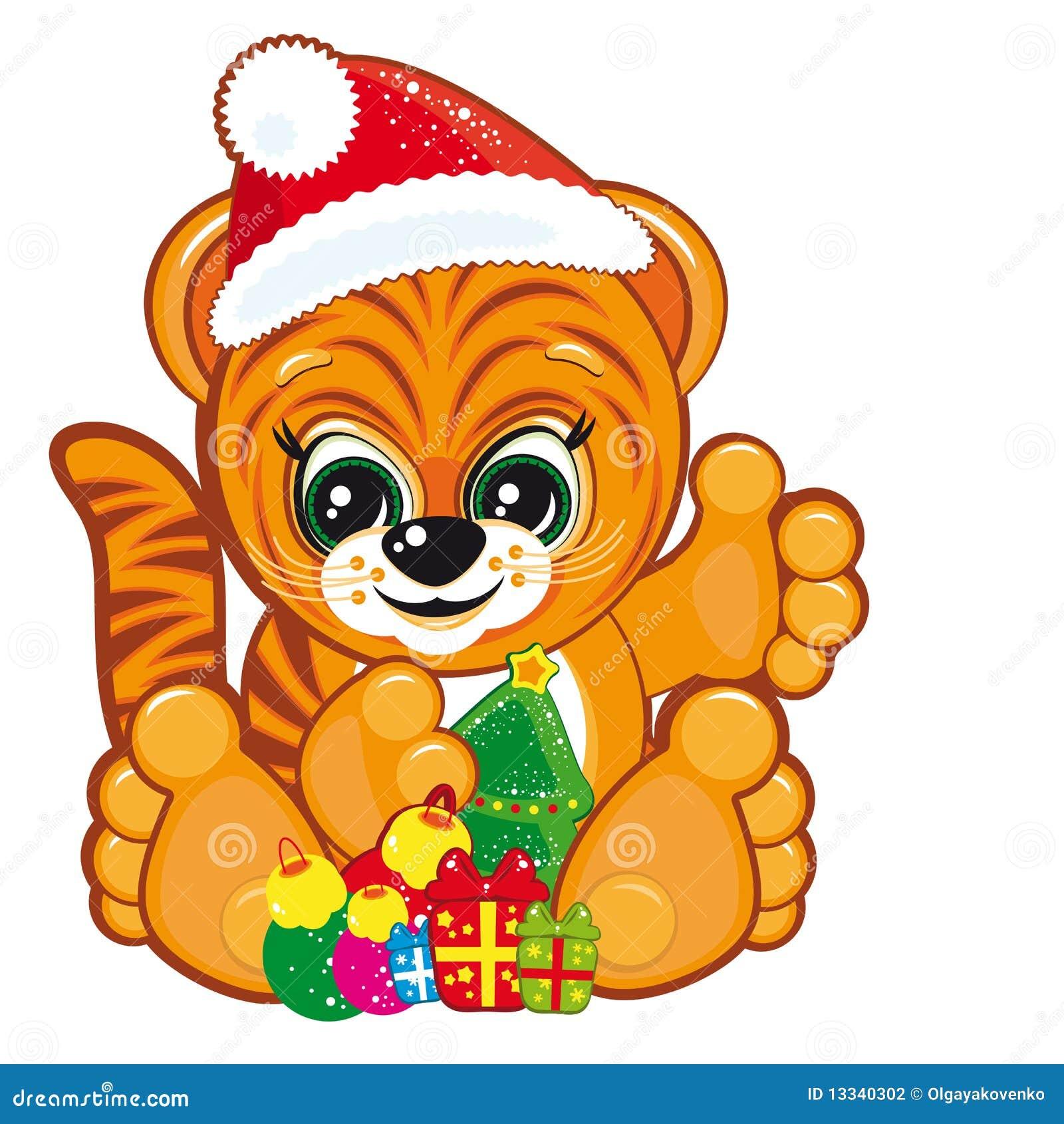 Bożych narodzeń kapeluszowy Santa tygrysa drzewo