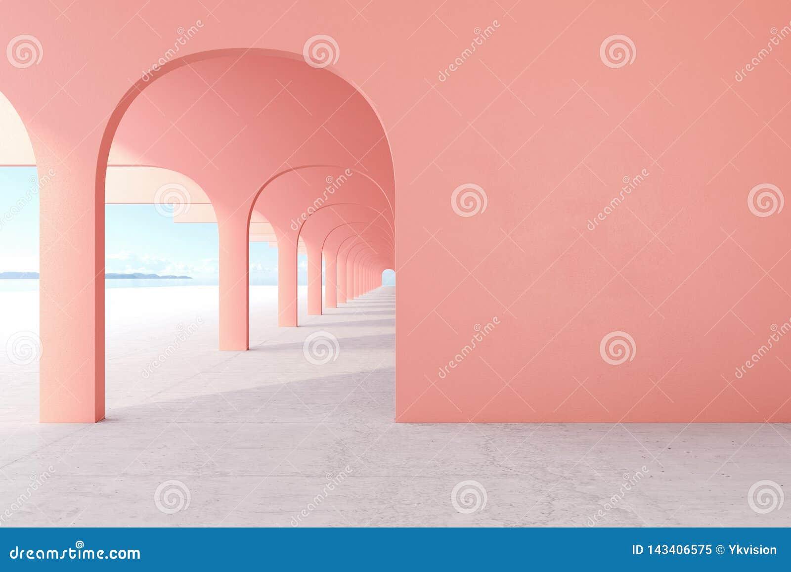 Bo korall, arkitektonisk korridor för rosa färg med den tomma väggen, konkret golv, horisontlinje