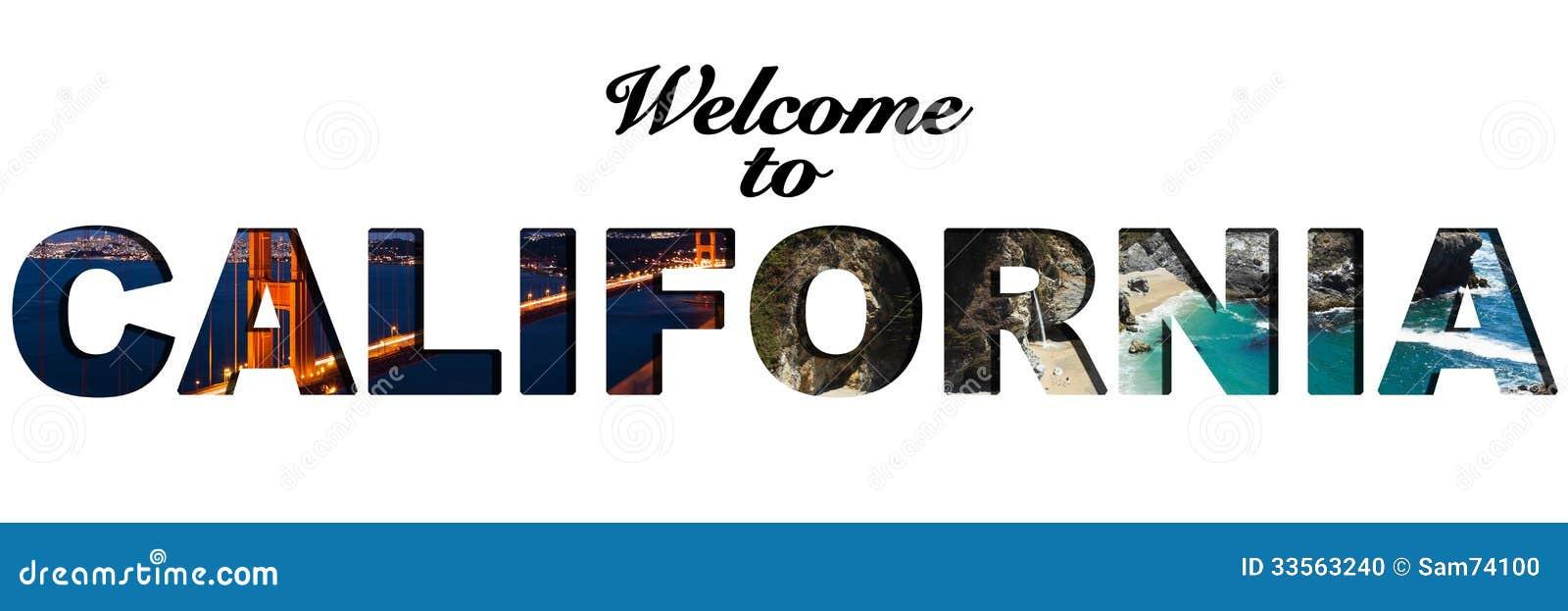 Boa vinda à colagem da imagem do texto de Califórnia