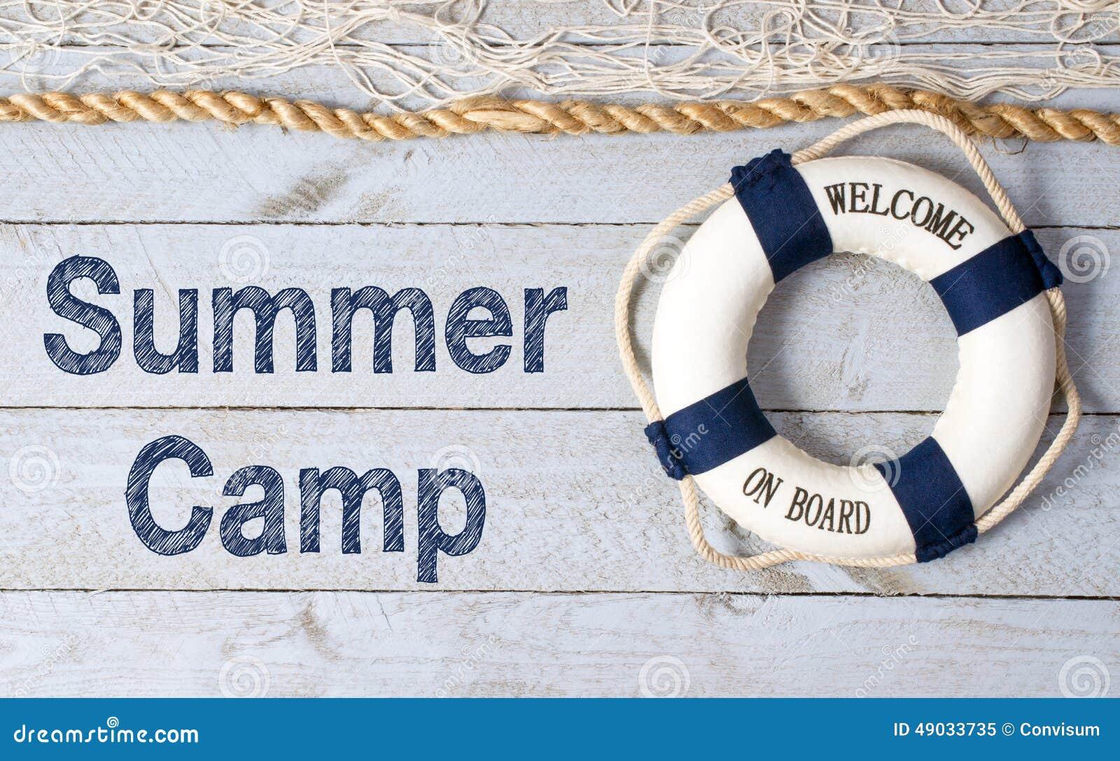 Boa vinda ao sinal do acampamento de verão