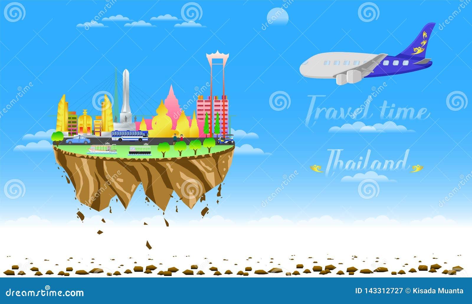 Boa vinda do tempo de viagem à ilustração eps10 do vetor do flutuador do país da cidade de Tailândia