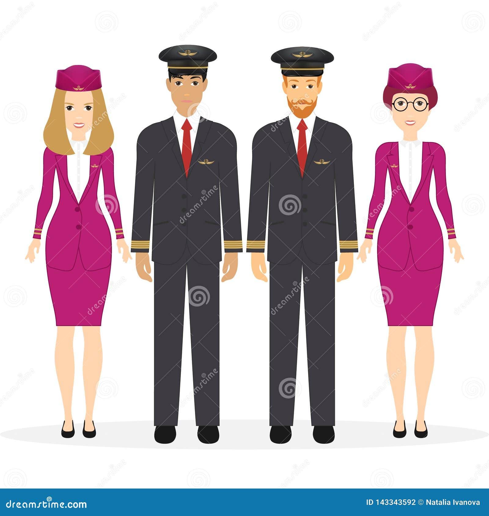 Boa vinda a viajar pelo plano Piloto, assistentes capitan, voando, aeromoça de ar Personagem de banda desenhada da ilustração do