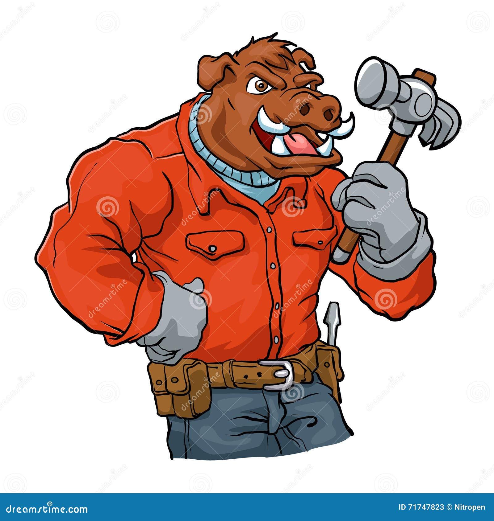 cartoon handyman flexing his muscles stock photo cartoondealer