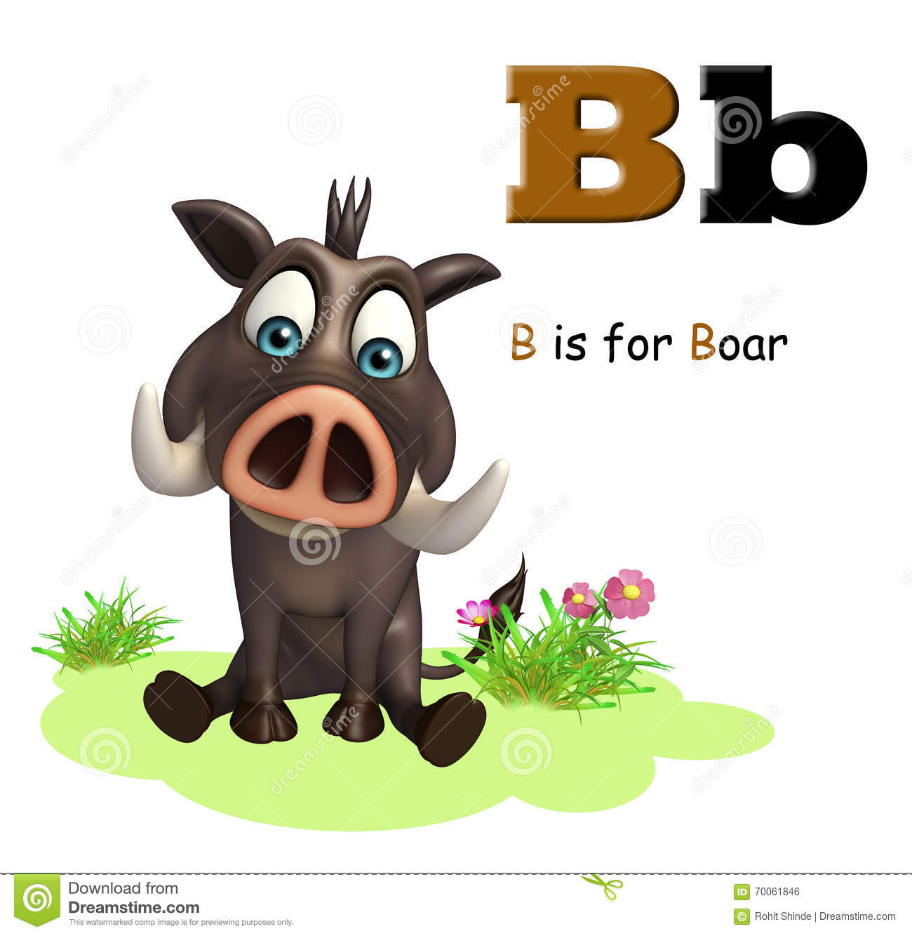 Boar wild animal with alphabate