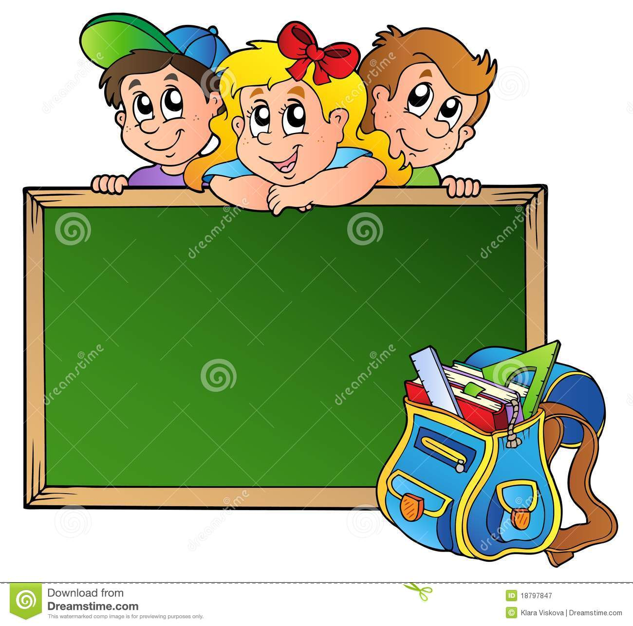 Board With Children And School Bag Stock Vector ...