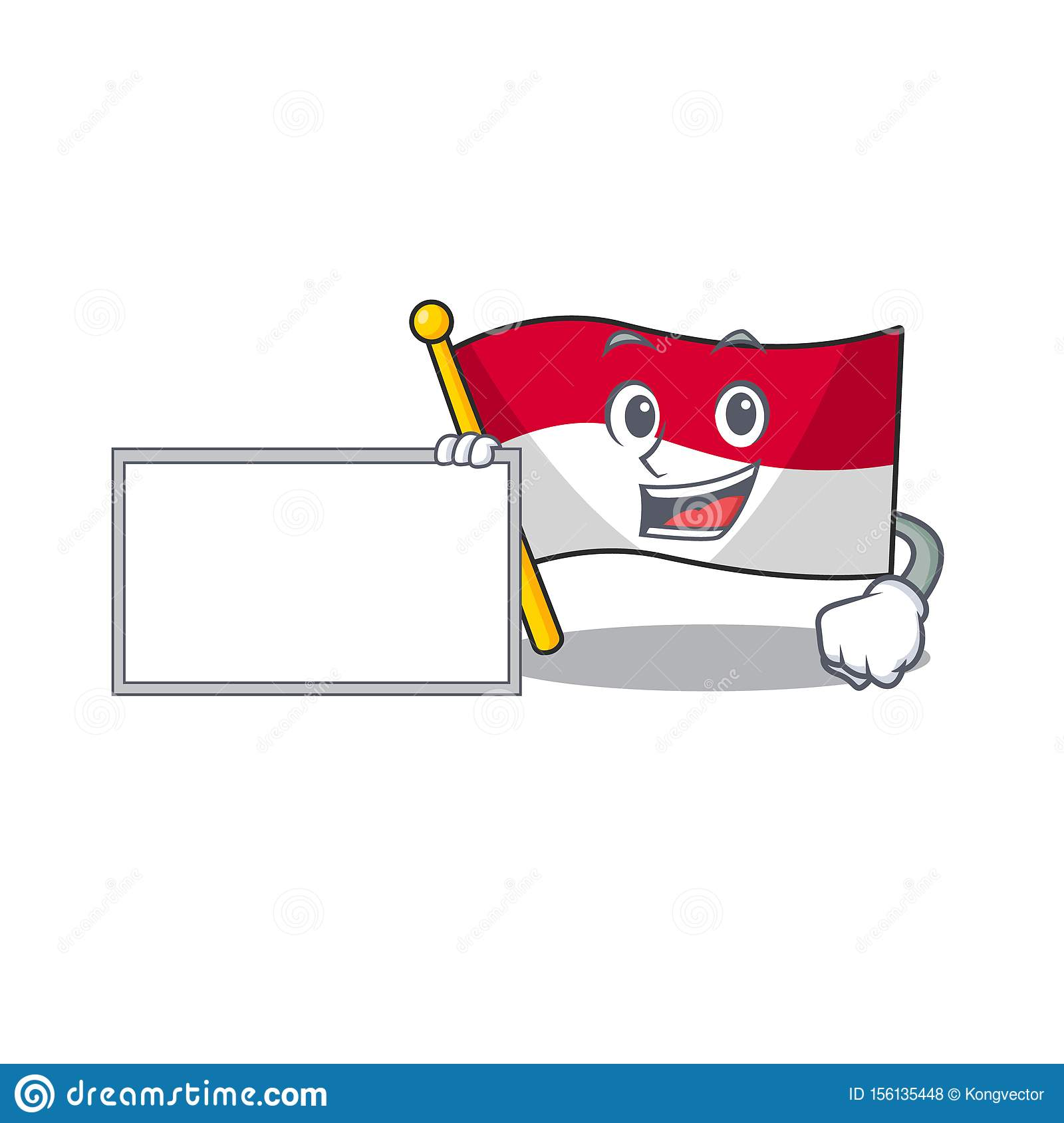 with board flag indonesia in the cartoon shape stock vector illustration of expression happy 156135448 dreamstime com