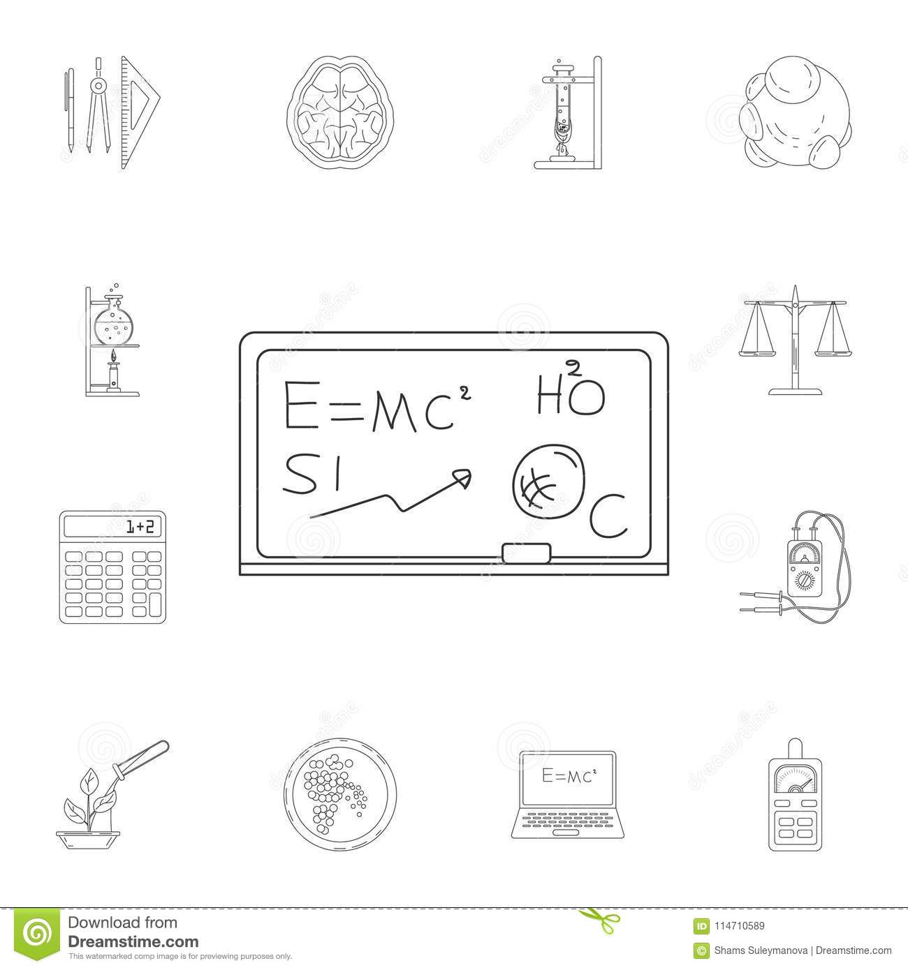 Board With Formula Icon Detailed Set Of Science And Lab Circuitboardnotebook Illustrations Premium Quality Graphic